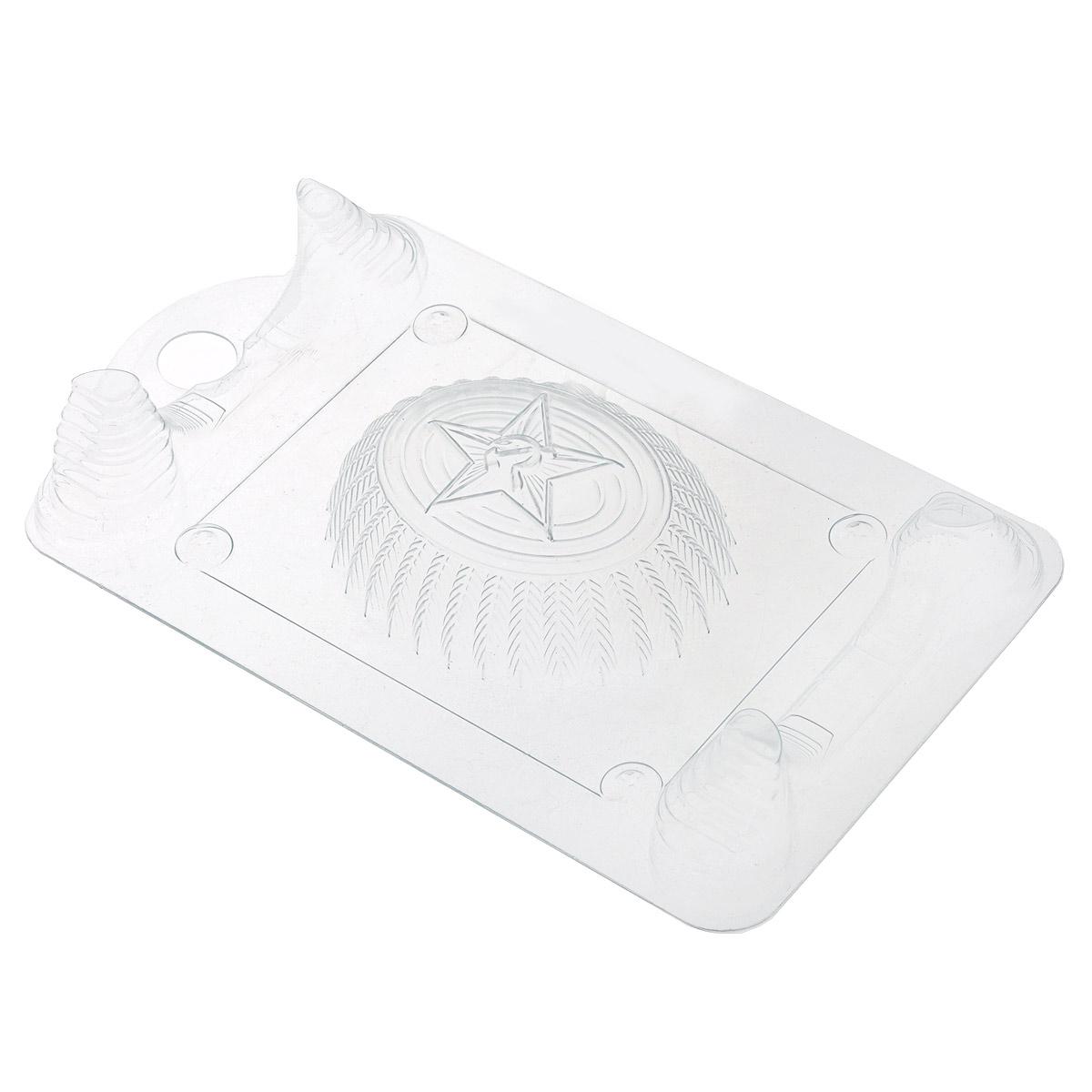 Форма для литья Выдумщики Кокарда, 19 см х 11,5 см х 3 см2700770025156Форма для литья Выдумщики Кокарда изготовлена из прозрачного пластика в виде кокарды с изображением серпа и молота. Изготовленное в такой форме мыло получит забавный, оригинальный дизайн. При помощи такой прозрачной формы для литья можно самостоятельно изготовить домашнее мыло, а так же оригинальную свечу для украшения праздничного стола и интерьера.