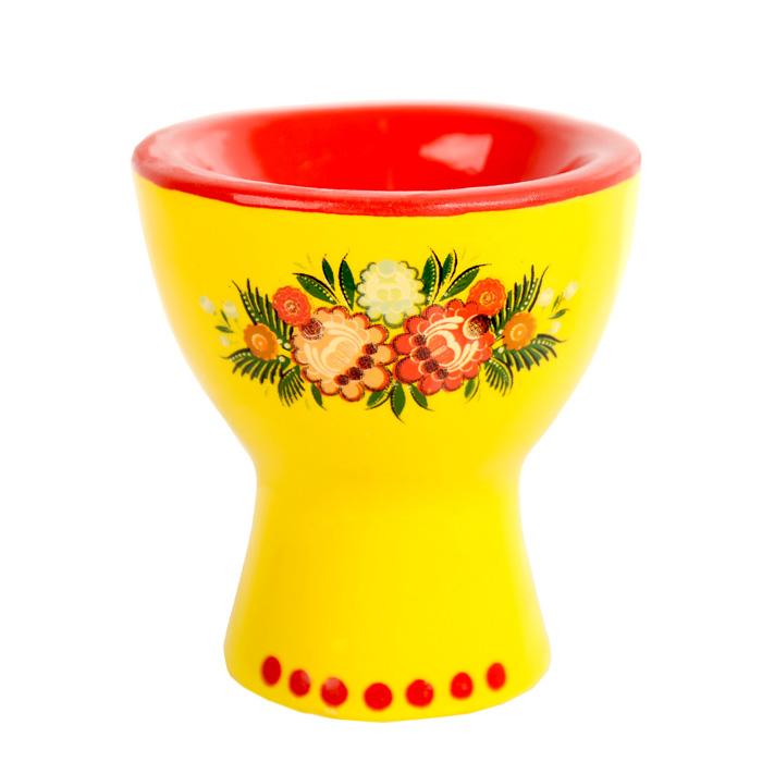 """Подставка под яйцо Home Queen """"Цветочные узоры"""", цвет: желтый, красный"""