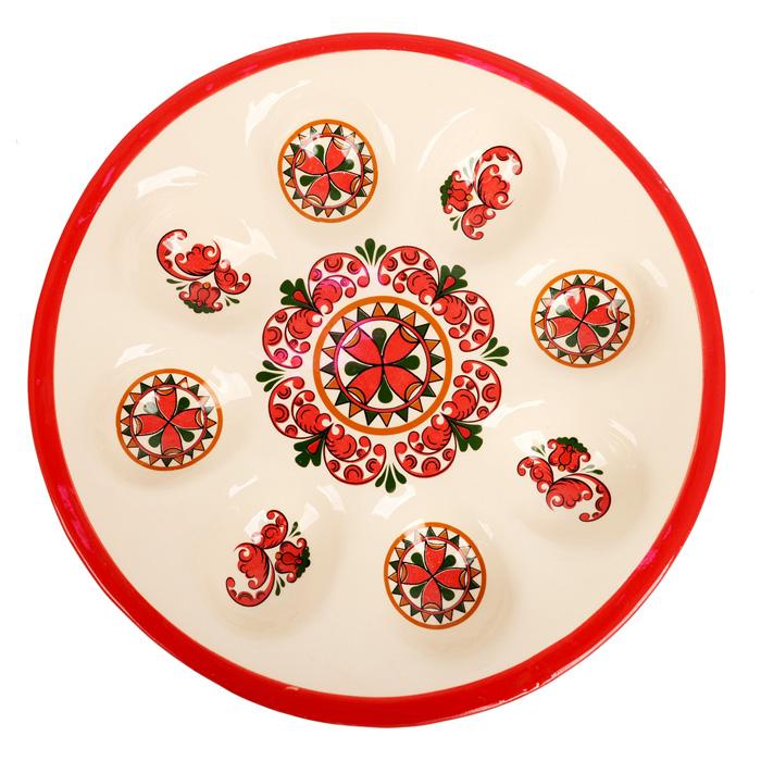 Подставка под 8 яиц Home Queen Народные промыслы, диаметр 21 см66716Подставка под 8 яиц Home Queen Народные промыслы станет оригинальным украшением праздничного стола на Пасху. Изделие выполнено из высококачественной керамики, покрытой слоем сверкающей глазури, и оформлено красивым узором в традиционном русском стиле. Имеется 8 ячеек для яиц. Такая подставка красиво оформит праздничный стол и создаст особое настроение. Размер ячейки для яйца: 5,5 см х 4 см.