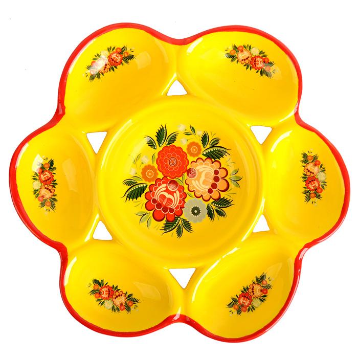 Подставка под яйца Home Queen Цветочный орнамент, цвет: желтый, красный, 6 ячеек66722Подставка Home Queen Цветочный орнамент станет оригинальным украшением праздничного стола на Пасху. Изделие изготовлено из керамики и служит держателем для яиц. Подставка оснащена 6 ячейками для яиц и декорирована цветочным рисунком. Подставка Home Queen Цветочный орнамент может стать красивым пасхальным подарком для друзей или близких. Размер подставки: 21,5 см х 2,1 см. Размер ячейки: 7 см х 4,5 см.