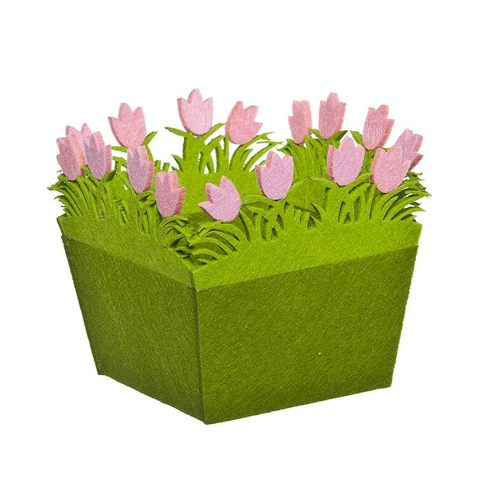Корзинка Home Queen Тюльпаны, цвет: зеленый, 16 см х 16 см х 14,5 см66830Корзинка Home Queen Тюльпаны предназначена для украшения интерьера и сервировки стола. Изделие выполнено из фетра, по краю оформлено красивой аппликацией в виде розовых цветочков. Такая оригинальная корзинка станет ярким украшением стола. Идеальный вариант для хранения пасхальных яиц или хлеба.