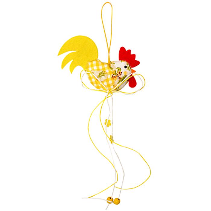 Декоративное подвесное украшение Home Queen Пестрый петушок, цвет: желтый64178Подвесное украшение Home Queen Пестрый петушок, выполненное в виде петуха, изготовлено из полиэстера и украшено декоративными нитями с фигурками цветов и деревянными шариками. Изделие оснащено петелькой для подвешивания. Такое украшение прекрасно оформит интерьер дома или станет замечательным подарком для друзей и близких на Пасху. Размер петушка: 10 см х 8 см х 2 см.