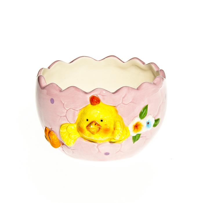 Ваза Home Queen Вылупляющийся цыпленок, 10 см х 11 см х 6 см64295Ваза Home Queen Вылупляющийся цыпленок выполнена из высококачественной керамики, покрытой слоем сверкающей глазури. Ваза оформлена красивым рельефом в виде цыпленка, вылупляющегося из яйца. Такая ваза станет красивым пасхальным украшением стола или подарком для друзей и близких. Размер вазы: 10 см х 11 см. Высота вазы: 6 см.
