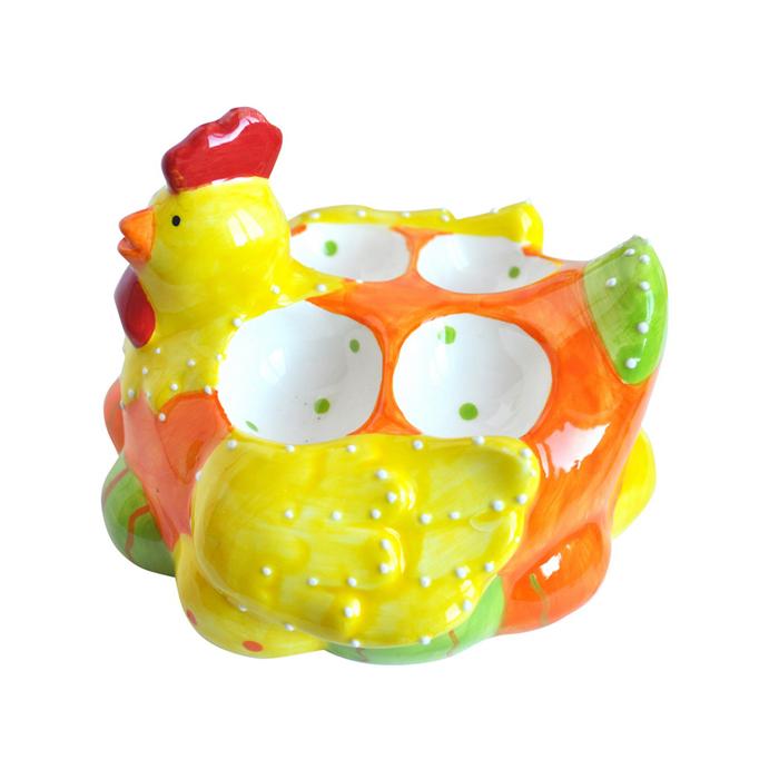 Подставка под яйца Home Queen Наседка, цвет: оранжевый, желтый, 4 ячейки58261_1Подставка Home Queen Наседка станет оригинальным украшением праздничного стола на Пасху. Изделие изготовлено из керамики и служит подставкой для яиц. Подставка выполнена в виде забавной курочки-наседки с 4 ячейками для яиц. Подставка Home Queen Наседка может стать красивым пасхальным подарком для друзей или близких. Размер подставки: 13,5 см х 14 см х 9,5 см. Диаметр ячейки: 3,5 см.