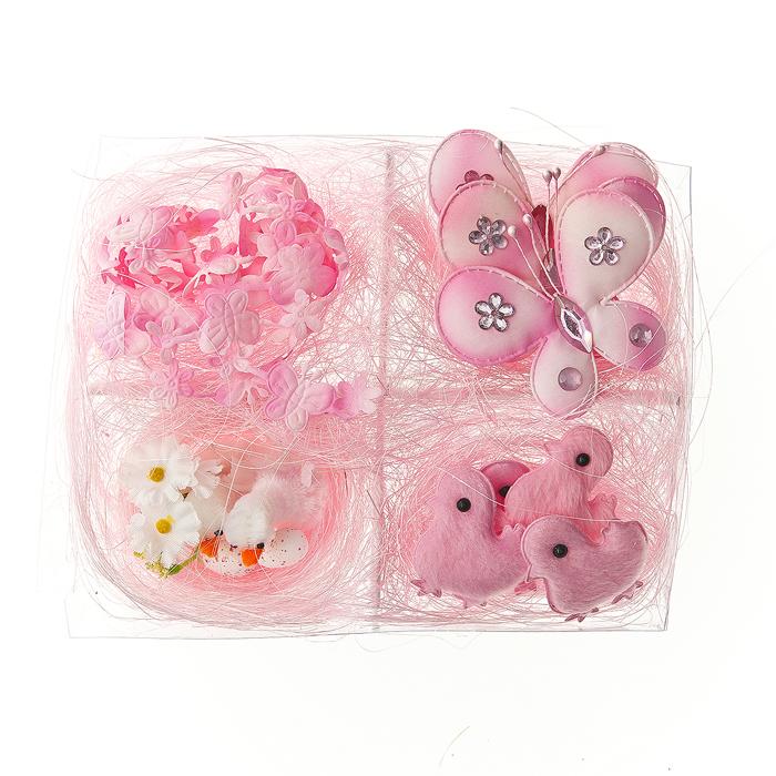 Набор декоративных украшений Home Queen, цвет: розовый, 10 предметов64485_3Набор Home Queen состоит из 10 декоративных украшений: 4 цыплят, 3 бабочек, 2 утят в гнезде и гирлянды. Изделия изготовлены из пенопласта и полиэстера. Украшения помогут вам украсить дом, а также станут замечательным подарком для ваших близких. Размер цыпленка: 3,5 см х 4,5 см. Размер бабочки: 6,5 см х 5,5 см. Размер утенка: 2,5 см х 3,5 см. Длина гирлянды: 42 см.
