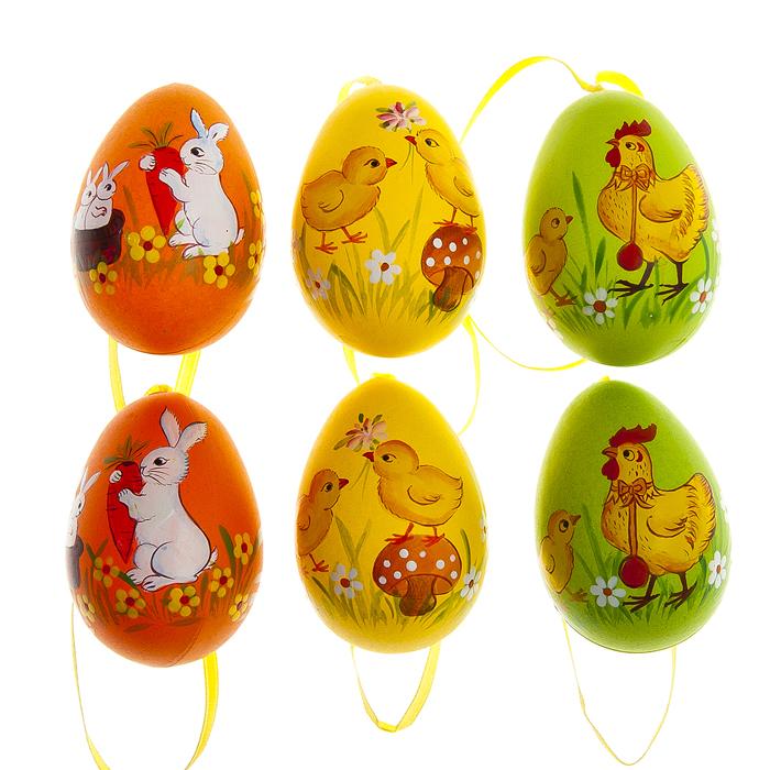 Набор пасхальных подвесных украшений Home Queen Теплая встреча. Кролики и куры, 6 см х 4,2 см, 6 шт66798_3Набор подвесных украшений Home Queen Теплая встреча. Кролики и куры состоит из 6 разноцветных яиц, изготовленных из пластика. Изделия оснащены текстильной петелькой для подвешивания. Такие украшения прекрасно оформят интерьер дома или станут замечательным подарком для друзей и близких на Пасху. Размер украшения: 4,2 см х 4,2 см х 6 см.