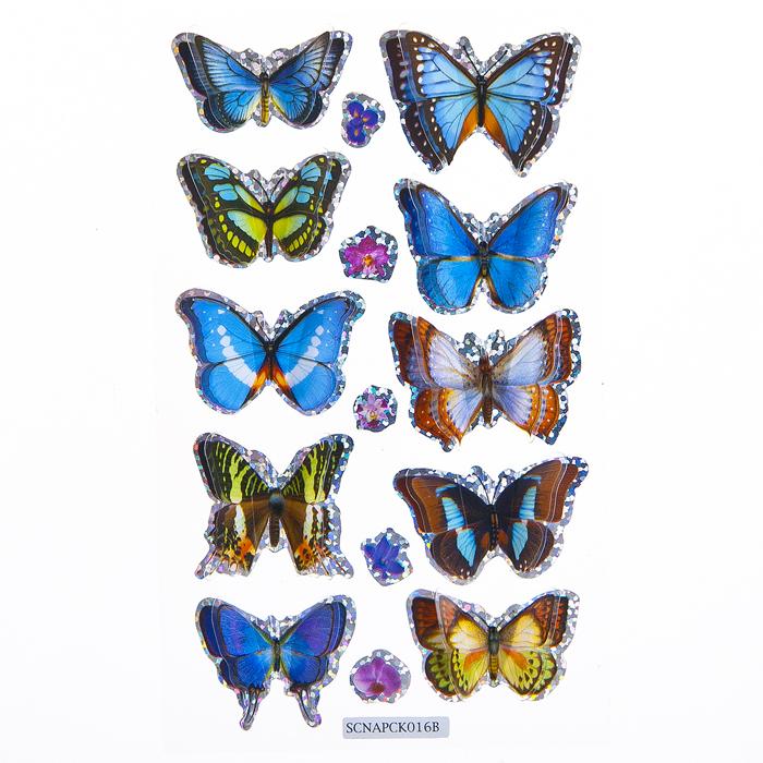 """Набор объемных наклеек Home Queen """"Порхающие бабочки"""", цвет: синий, 10 шт"""