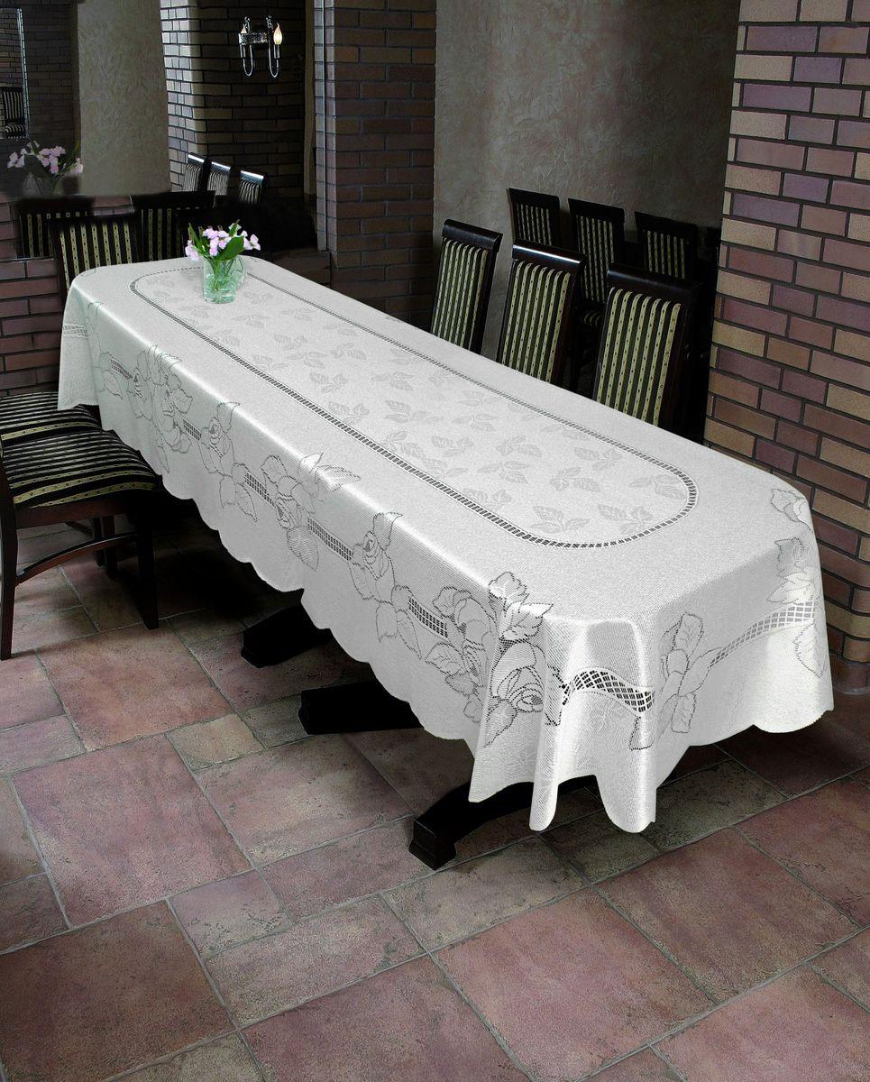 Скатерть Wisan Jeremiasz, овальная, цвет: белый, 130 x 180 см. 84978497Великолепная овальная скатерть Wisan Jeremiasz органично впишется в интерьер любого помещения, а оригинальный дизайн удовлетворит даже самый изысканный вкус. Изделие выполнено из полиэстера и украшено изящным цветочным орнаментом. Края скатерти закруглены. Скатерть поможет создать атмосферу уюта и домашнего тепла в интерьере вашей кухни или комнаты, а также станет настоящим украшением праздничного стола.
