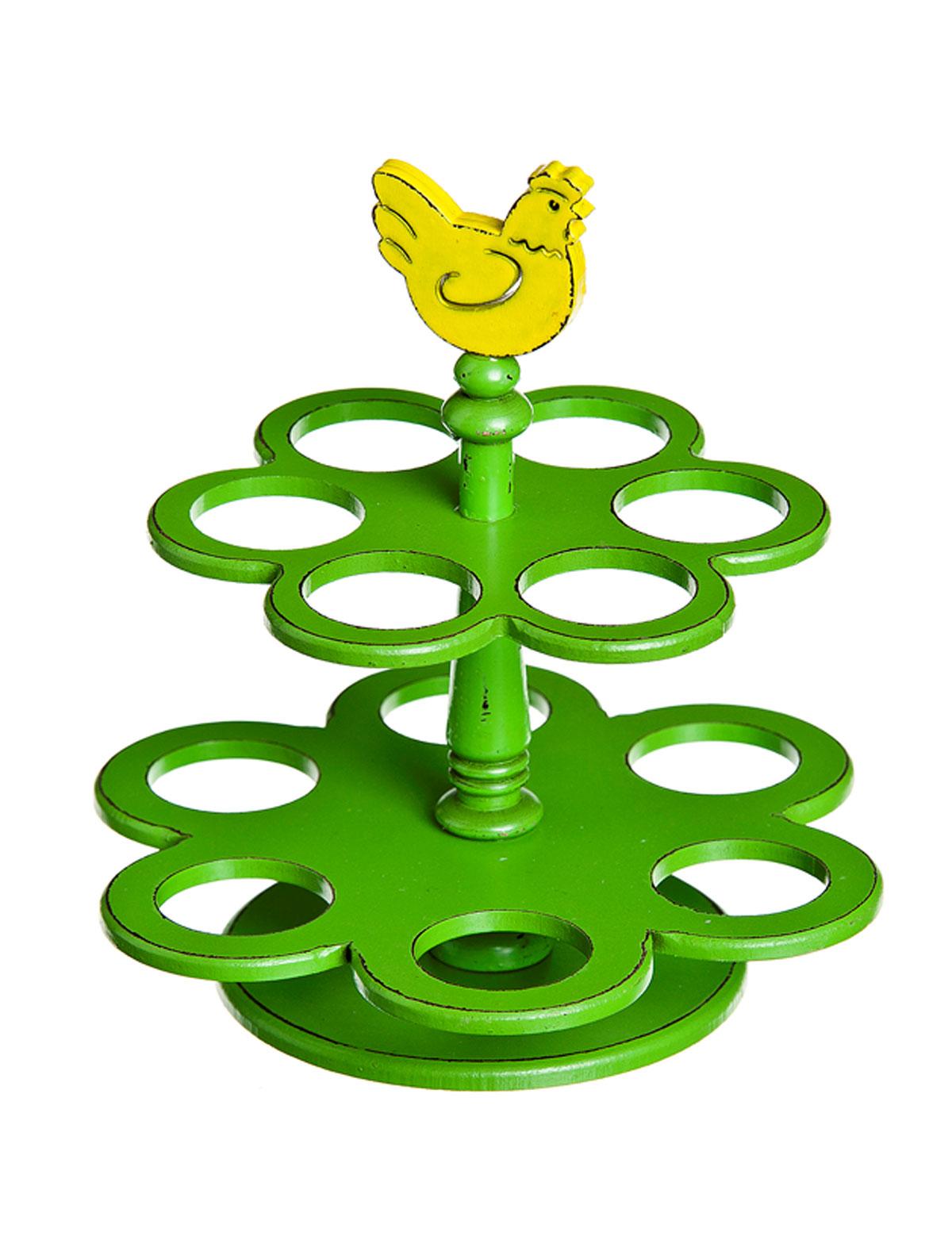 Подставка под яйца Home Queen Курочка деревянная, двухъярусная, цвет: зеленый, желтый, 12 ячеек68308Подставка Home Queen Курочка деревянная станет оригинальным украшением праздничного стола на Пасху. Двухъярусная подставка изготовлена из дерева и служит держателем для яиц. Изделие выполнено в виде забавной курочки на подставке с 12 ячейками для яиц. Подставка Курочка деревянная может стать красивым пасхальным подарком для друзей или близких. Размер подставки: 19 см х 19 см х 20 см. Диаметр ячейки: 3,7 см.