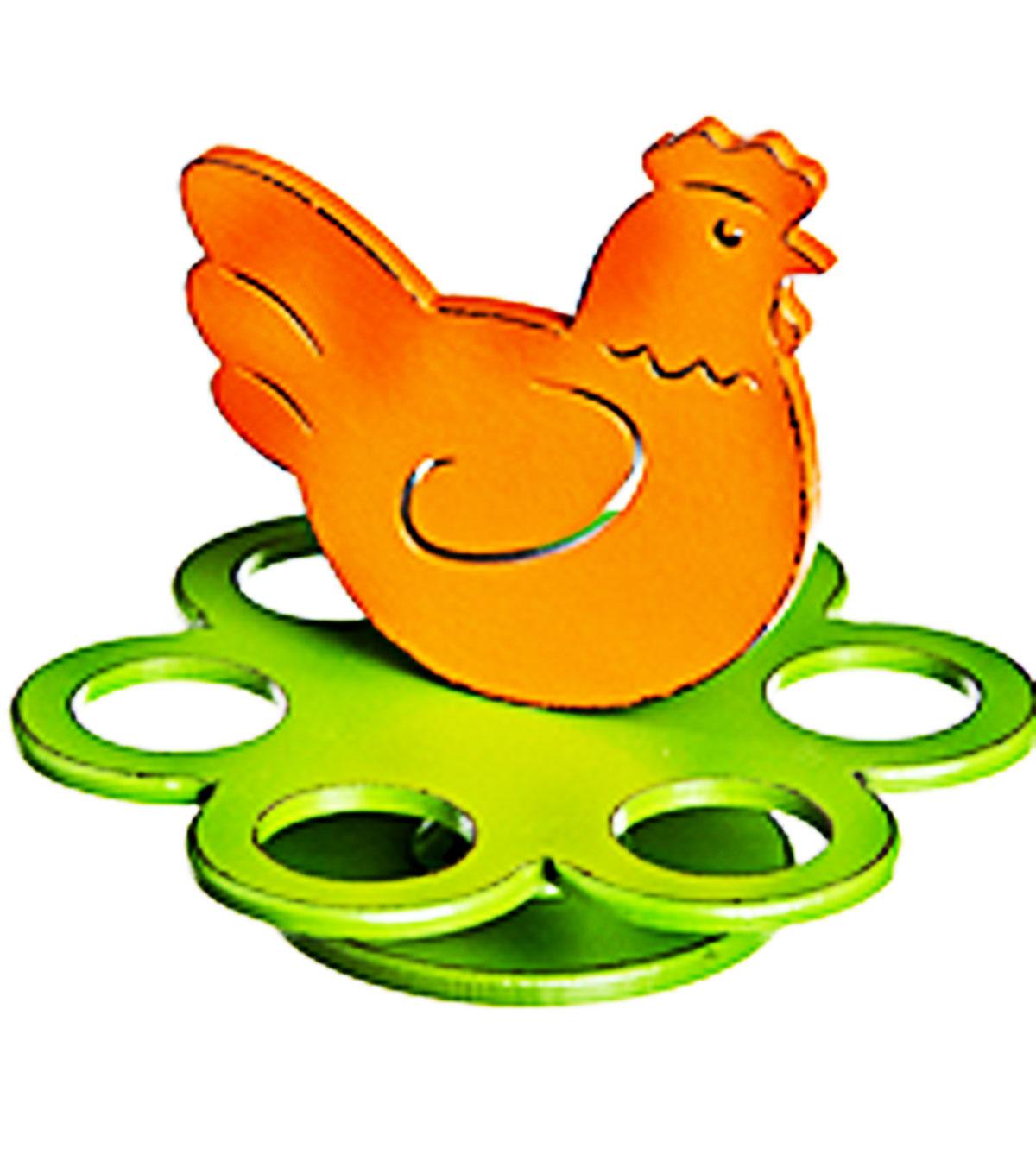 Подставка под яйца Home Queen Курочка, цвет: зеленый, оранжевый, 6 ячеек68309_2Подставка Home Queen Курочка станет оригинальным украшением праздничного стола на Пасху. Подставка изготовлена из дерева и служит держателем для яиц. Изделие выполнено в виде забавной курочки на подставке с 6 ячейками для яиц. Подставка Курочка может стать красивым пасхальным подарком для друзей или близких. Размер подставки: 18,5 см х 18,5 см х 15 см. Диаметр ячейки: 4 см.