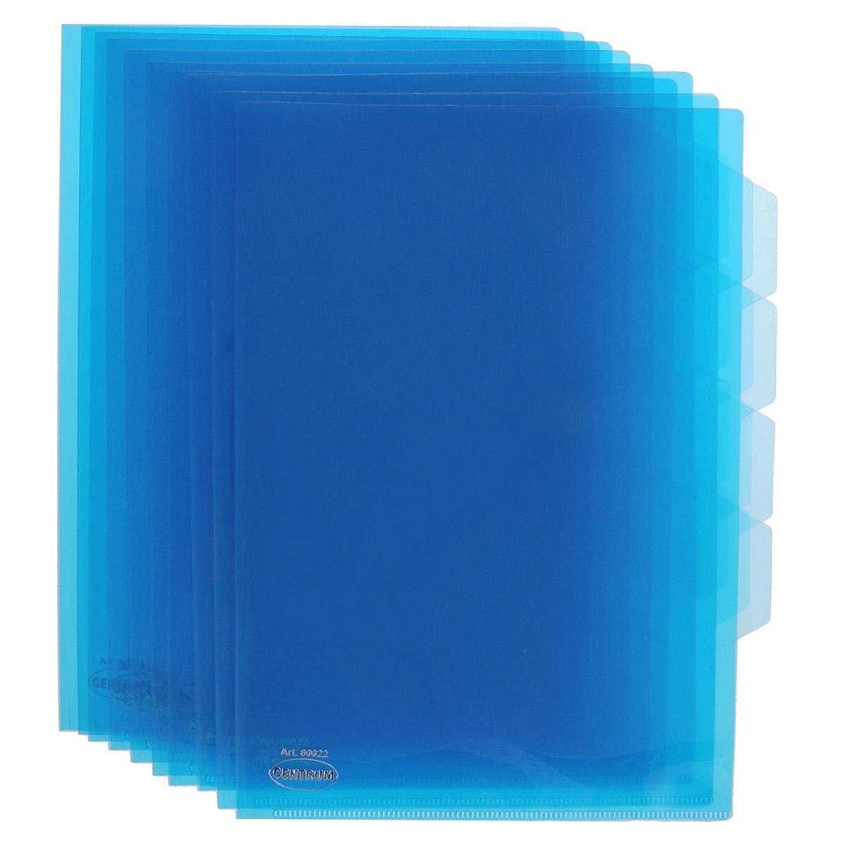 Папка-уголок Сentrum, 3 отделения, цвет: синий. Формат А4, 10 шт80022ОсинийПапка-уголок Centrum - это удобный и практичный офисный инструмент, предназначенный для хранения и транспортировки рабочих бумаг и документов формата А4. Папка изготовлена из прозрачного глянцевого пластика, имеет три отделения с индексами-табуляторами. В комплект входят 10 папок формата А4. Папка-уголок - это незаменимый атрибут для студента, школьника, офисного работника. Такая папка надежно сохранит ваши документы и сбережет их от повреждений, пыли и влаги.