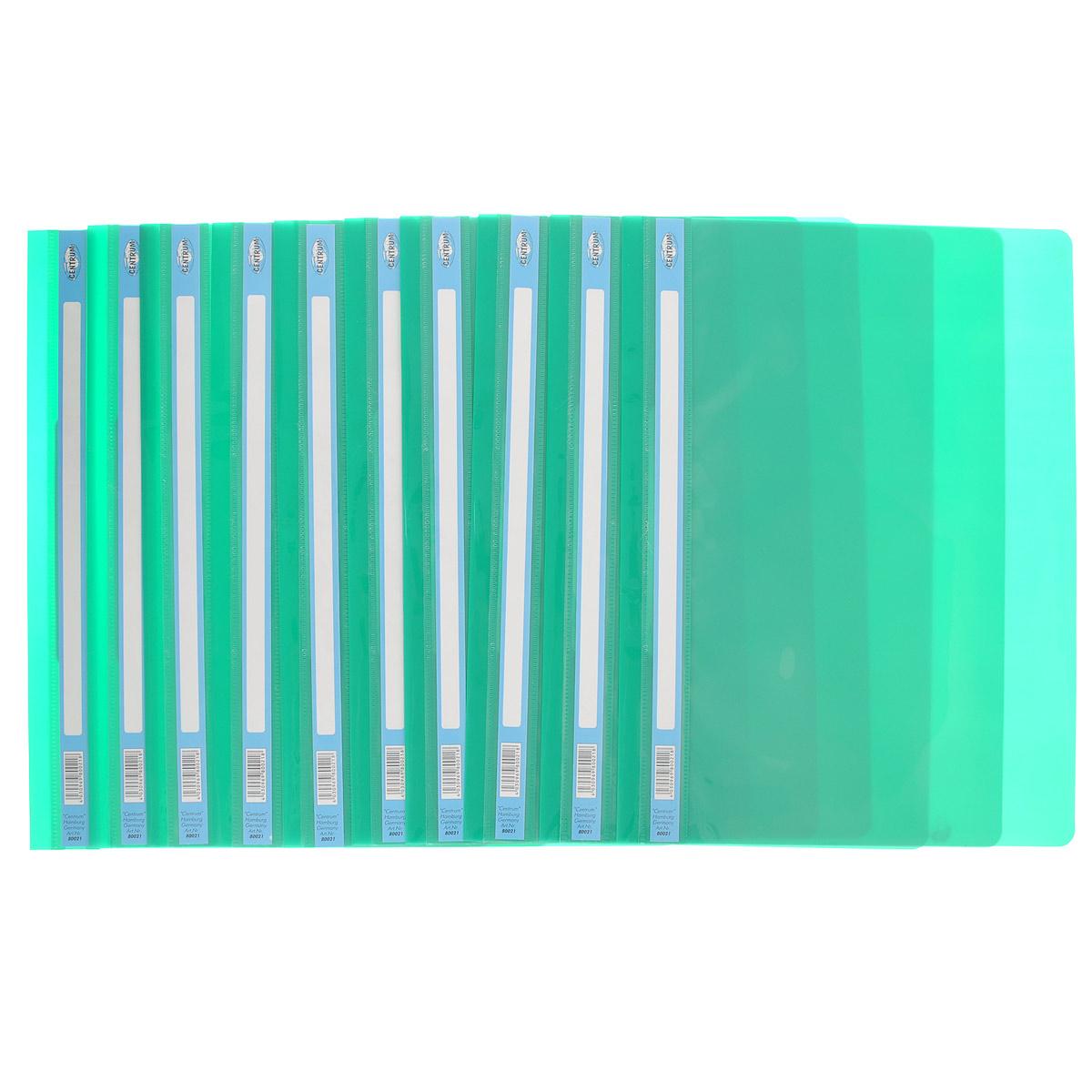 Папка-скоросшиватель Centrum, цвет: зеленый. Формат А4, 10 шт80021ОзеленыйПапка-скоросшиватель Centrum - это удобный и функциональный офисный инструмент, предназначенный для хранения и транспортировки рабочих бумаг и документов формата А4. Изготовлена из полупрозрачного, прочного пластика, имеет прозрачный верхний лист и более плотный нижний. Папка оснащена металлическими скобками для фиксации перфорированных бумаг. В комплект входят 10 папок формата A4. Папка-скоросшиватель - это незаменимый атрибут для студента, школьника, офисного работника. Такая папка надежно сохранит ваши документы и сбережет их от повреждений, пыли и влаги.