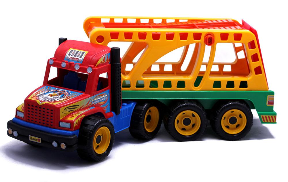 Bauer Автовоз Сокол167Машинка Bauer Автовоз Сокол, изготовленная из прочного безопасного пластика, отлично подойдет ребенку для различных игр. С ее помощью можно перевозить машинки и другие игрушки. Машинка оборудована вместительным отсоединяющимся кузовом и двумя выхлопными трубами. Восемь больших колес со свободным ходом и крупным протектором обеспечивают самосвалу устойчивость и хорошую проходимость. Кабина без стекол оформлена яркими наклейками. В кабину можно посадить маленького игрушечного водителя. С таким автовозом ваш ребенок сможет прекрасно провести время дома или на улице, придумывая различные истории.