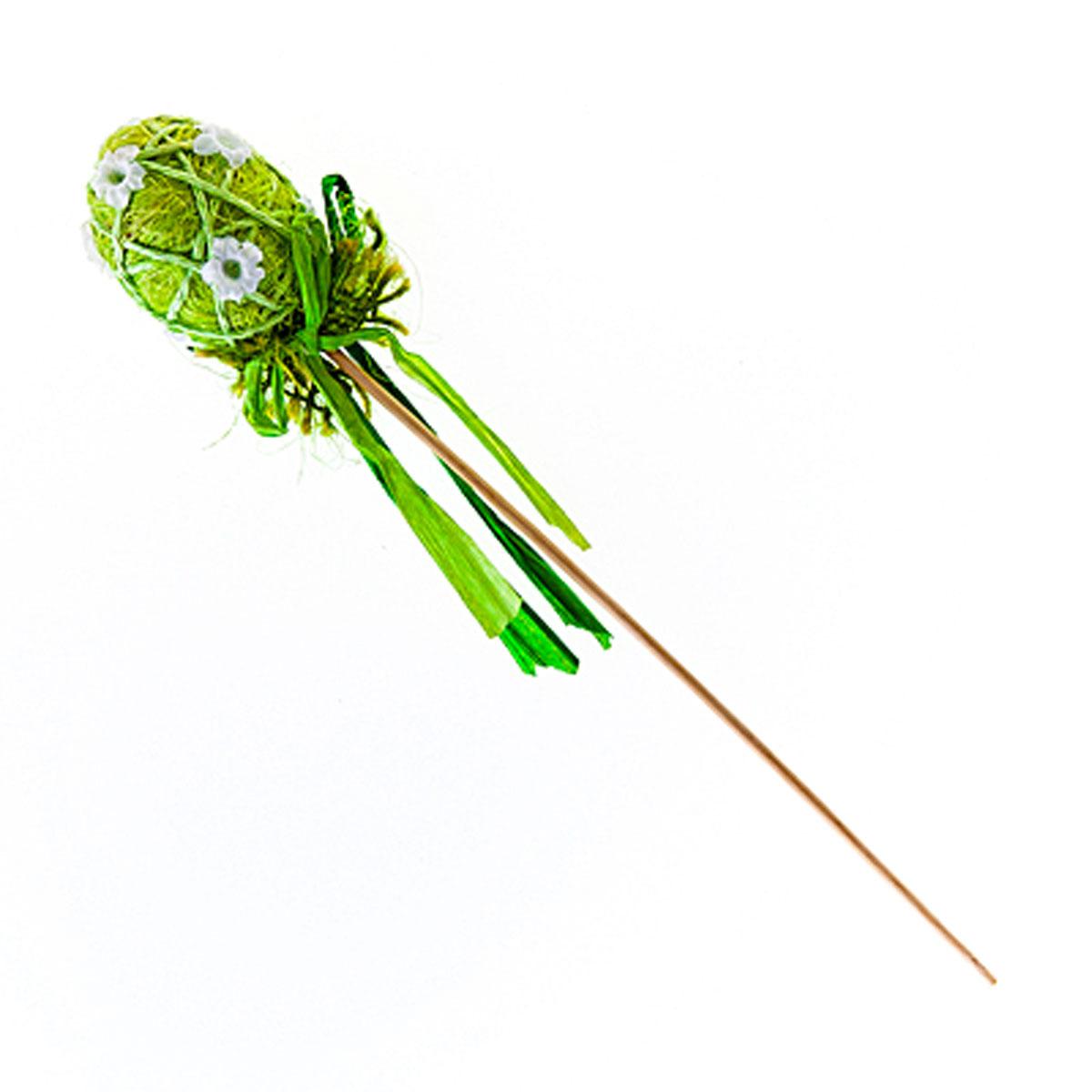 Декоративное украшение на ножке Home Queen Яйцо красивое, цвет: зеленый, высота 20 см60742_1Декоративное украшение Home Queen Яйцо красивое выполнено из пенопласта в виде пасхального яйца на деревянной ножке, декорированного рельефными цветами. Изделие украшено лентой. Такое украшение прекрасно дополнит подарок для друзей или близких на Пасху. Высота: 20 см. Размер яйца: 5,5 см х 4,5 см.