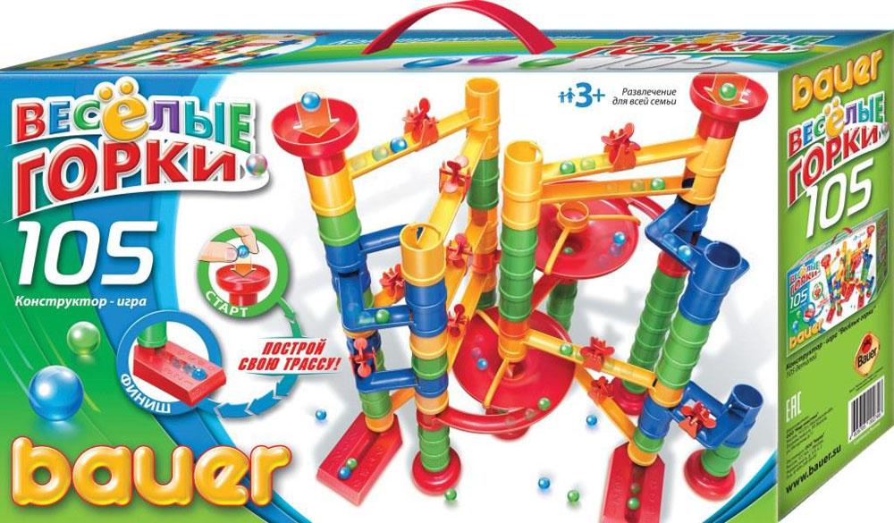 Bauer Конструктор Веселые горки 274274Конструктор «Веселые горки» – это игра, развивающая воображение и логику ребенка. Суть игры заключается в правильном построении маршрута для шарика. Некоторые варианты сборки многоуровневого маршрута указаны на упаковке. В игре могут участвовать несколько игроков одновременно, соревнуясь, чей шарик придёт к финишу первым. Конструктор прекрасно подходит для детского творчества и семейного отдыха, способствуют развитию объёмного мышления ребенка, фантазии, координации движения глаз, мелкой моторики и памяти . В состав конструктора входит 105 деталей различных форм, цветов и размеров. Игрушки сделаны из высококачественного пластика с использованием пищевых красителей. Дизайн упаковки очень яркий и привлекательный. Упаковка, как и сами наборы, разработана совместно дизайнерами и психологами. Цветовая гамма очень хорошо подходит для детского восприятия. Все используемые упаковочные материалы экологически безопасны. Имеются все необходимые сертификаты. Игрушка для детей от 3-х лет.