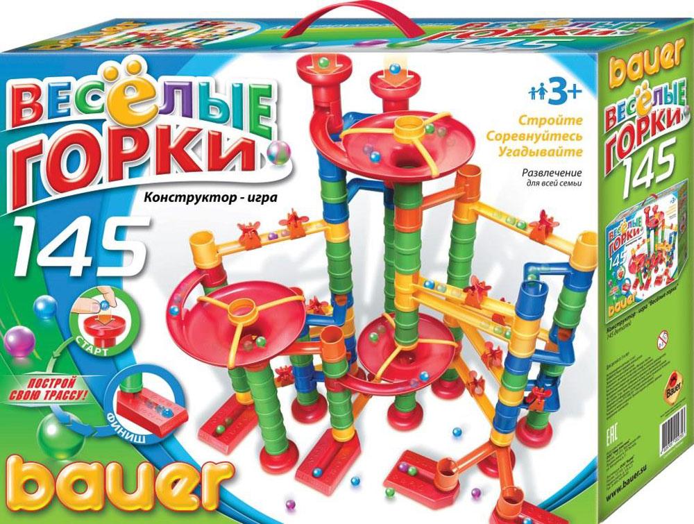 Bauer Конструктор Веселые горки 275275Конструктор Bauer Веселые горки - это игра, развивающая воображение и логику ребенка. Суть игры заключается в правильном построении маршрута для шарика. Некоторые варианты сборки многоуровневого маршрута указаны на упаковке. В игре могут участвовать несколько игроков одновременно, соревнуясь, чей шарик придёт к финишу первым. Конструктор прекрасно подходит для детского творчества и семейного отдыха, способствуют развитию объёмного мышления ребенка, фантазии, координации движения глаз, мелкой моторики и памяти. В состав конструктора входит 145 деталей различных форм, цветов и размеров. Игрушки сделаны из высококачественного пластика с использованием пищевых красителей. В набор входит: 3 воронки, 4 ворот, 14 больших желобов, 4 сдвоенных желоба, 18 маленьких желобов, 10 чаш, 3 держателя опоры над воронкой, 14 колес, 15 креплений для колеса, 52 цилиндрические опоры, 8 шариков. Дизайн упаковки очень яркий и привлекательный. Упаковка, как и сами наборы, разработана совместно...