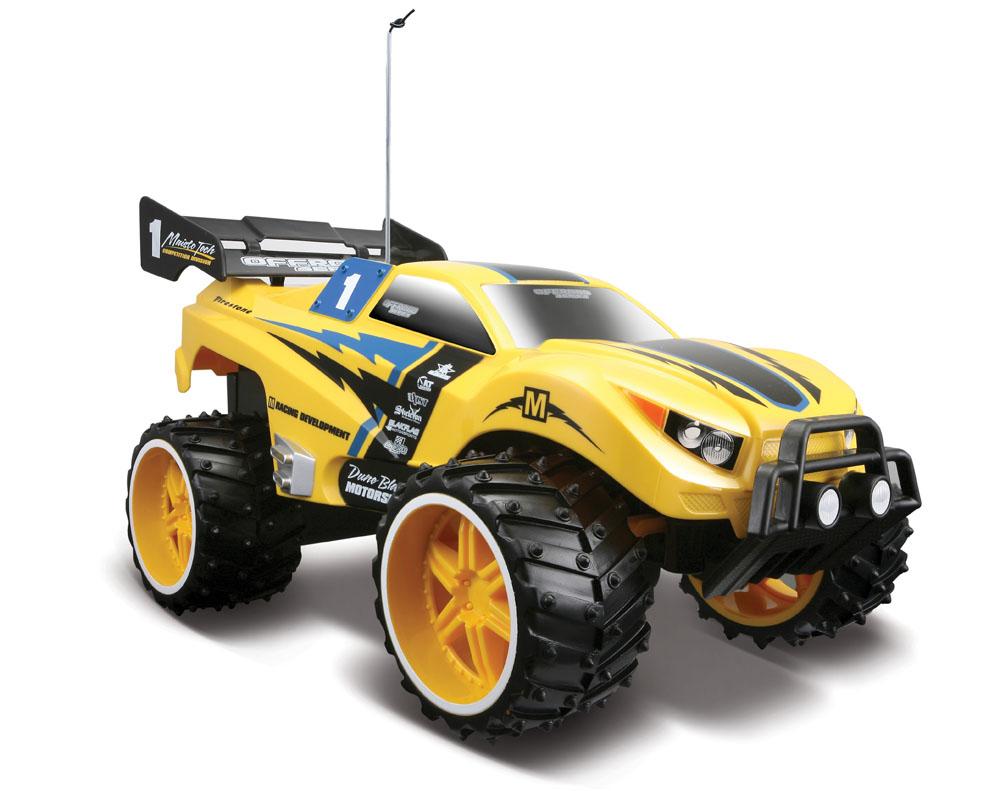 Maisto Машина на радиоуправлении Dune Blaster цвет желтый81095 R/CМашина Dune Blaster масштаб 1:16 R/C 4/4 артикул 81095 на радиоуправлении - это самый настоящий внедорожник для любителей автомобильной техники и экстремального вождения. Полный привод (вперед, назад, вправо, влево) обеспечивает отличную проходимость. Большие внедорожные шины. Ручная настройка выравнивания колес. Питание: 4АА батарейки, в пульте- 9V. Радиус действия до 10м.