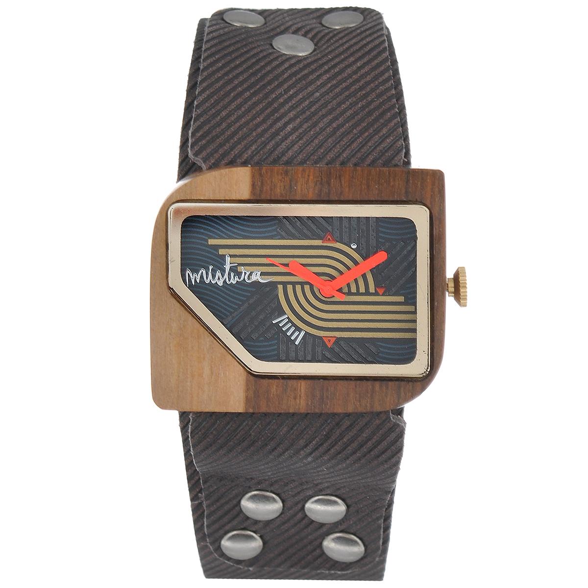 Часы наручные женские Mistura Pellicano: Coffee Jean/Nazca Dark. TP09004CJPUNDWDTP09004CJPUNDWDНаручные часы Mistura благодаря своему эксклюзивному дизайну позволят вам выделиться из толпы и подчеркнуть свою индивидуальность. Для изготовления корпуса часов используется древесина тропических лесов Колумбии с применением индивидуальных методов ее обработки. Дизайн выполняется вручную. Часы оснащены японским кварцевым механизмом Miyota (Япония). Ремешок из натуральной кожи, декорирован металлическими заклепками, застегивается на классическую застежку с деревянным язычком. Корпус часов изготовлен из дерева. Циферблат защищен минеральным стеклом. Изделие упаковано в фирменную коробку с логотипом компании Mistura. Часы марки Mistura идеально подходят молодым и уверенным в себе людям, ценящим качество, практичность и индивидуальность в каждой детали. Каждая модель оснащена оригинальным дизайнерским корпусом, а также ремешком из натуральной кожи, который можно заменить по вашему желанию. В изделиях используются высокоточные механизмы японского...