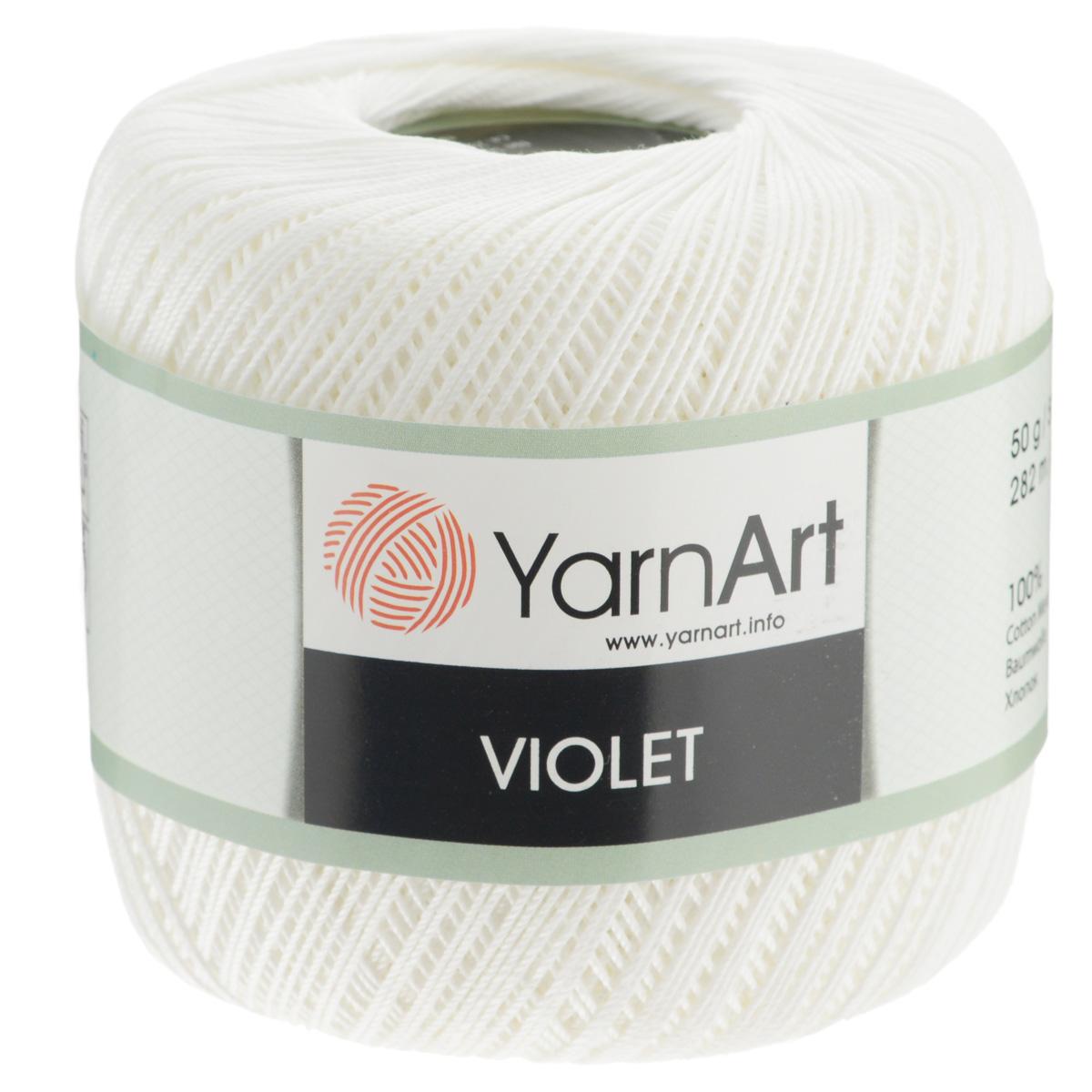 Пряжа для вязания YarnArt Violet, цвет: белый (003), 282 м, 50 г, 6 шт372018_003Пряжа для вязания YarnArt Violet - тонкая, гладкая и упругая пряжа из 100% мерсеризованного хлопка для вязания крючком и спицами. Нить хорошо скручена и не расслаивается. Это классическая пряжа, которая пользуется большой популярностью. Отлично подходит для вязания ажурных изделий. Замечательный вариант для вязания в технике ирландского кружева. Рекомендуется для вязания на крючке и спицах 2,5 мм. Состав: 100% хлопок.