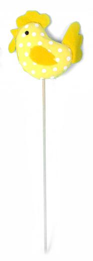 Декоративное пасхальное украшение на ножке Home Queen Петушок, цвет: желтый, высота 25 см. 60734_360734_3Украшение пасхальное Home Queen Петушок изготовлено из пенопласта и полиэстера и предназначено для украшения праздничного стола. Украшение выполнено в виде петушка, декорированного принтом в горох, на деревянной шпажке. Такое украшение прекрасно дополнит подарок для друзей и близких на Пасху. Высота: 25 см. Размер декоративной фигурки: 8 см х 7 см х 2 см.