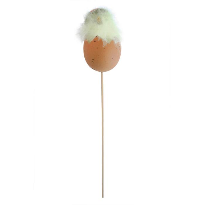 Декоративное пасхальное украшение на ножке Home Queen Цыпленок в скорлупе, цвет: коричневый, белый, высота 26 см. 57162_357162_3Украшение пасхальное Home Queen Цыпленок в скорлупе изготовлено из пластика, пенопласта и перьев и предназначено для украшения праздничного стола. Украшение выполнено в виде цыпленка, сидящего в скорлупке, на деревянной шпажке. Такое украшение прекрасно дополнит подарок для друзей и близких на Пасху. Высота: 26 см. Размер декоративной фигурки: 4,5 см х 4,5 см х 7 см.