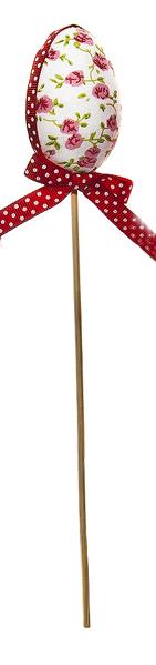 Декоративное пасхальное украшение на ножке Home Queen Яйцо с лентой, цвет: красный, высота 26 см. 64174_364174_3Украшение пасхальное Home Queen Яйцо с лентой изготовлено из пенопласта и полиэстера и предназначено для украшения праздничного стола. Украшение выполнено в виде пасхального яйца, декорированного цветочным узором и текстильной лентой, на деревянной шпажке. Такое украшение прекрасно дополнит подарок для друзей и близких на Пасху. Высота: 26 см. Размер декоративной фигурки: 4,5 см х 4,5 см х 6 см.