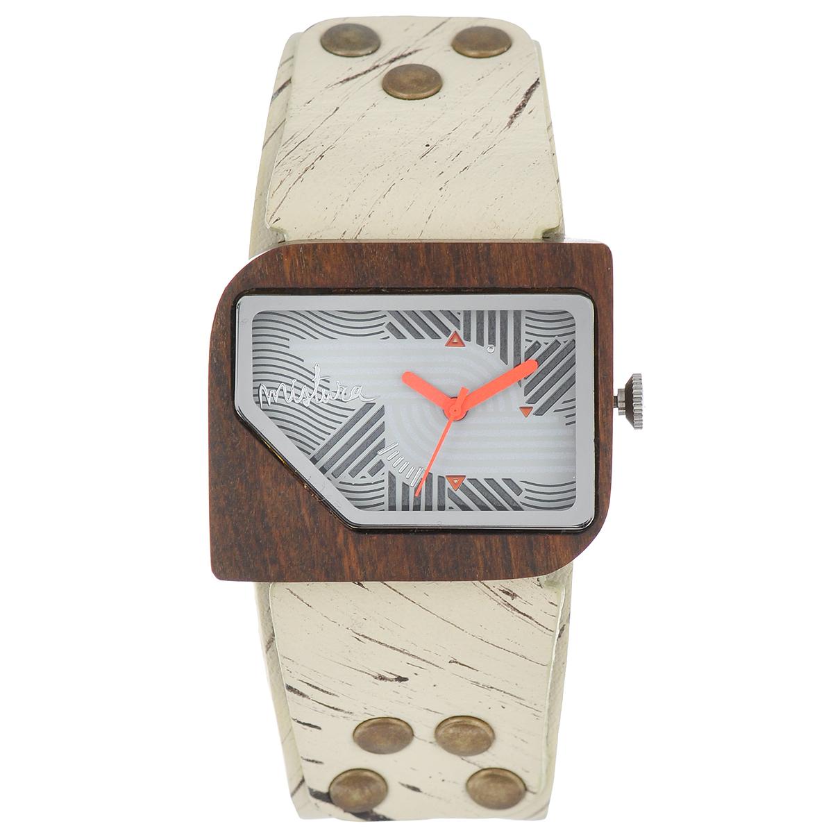 Часы наручные женские Mistura Pellicano: Hollister/Nazca Light. TP09004HLPUNLWDTP09004HLPUNLWDНаручные часы Mistura благодаря своему эксклюзивному дизайну позволят вам выделиться из толпы и подчеркнуть свою индивидуальность. Для изготовления корпуса часов используется древесина тропических лесов Колумбии с применением индивидуальных методов ее обработки. Дизайн выполняется вручную. Часы оснащены японским кварцевым механизмом Miyota (Япония). Ремешок из натуральной кожи, декорирован металлическими заклепками под бронзу, застегивается на классическую застежку с деревянным язычком. Корпус часов изготовлен из дерева. Циферблат защищен минеральным стеклом. Изделие упаковано в фирменную коробку с логотипом компании Mistura. Часы марки Mistura идеально подходят молодым и уверенным в себе людям, ценящим качество, практичность и индивидуальность в каждой детали. Каждая модель оснащена оригинальным дизайнерским корпусом, а также ремешком из натуральной кожи, который можно заменить по вашему желанию. В изделиях используются высокоточные...
