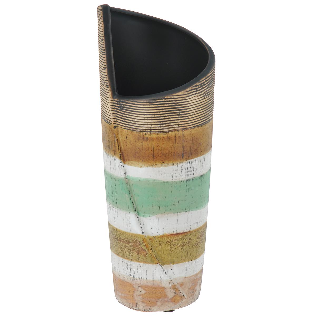 Ваза декоративная Полосатая S, высота 25 см37406Элегантная ваза Полосатая S, выполненная из высококачественного глазурованного фаянса, декорирована полосками разных цветов. Ваза имеет оригинальное горлышко, придающее ей шик. Изделие оснащено резиновыми ножками, предотвращающими скольжение вазы по поверхности. Оригинальная ваза Полосатая S придется по вкусу и ценителям классики, и тем, кто предпочитает утонченность и изящность. Вы можете поставить вазу в любом месте, где она будет удачно смотреться и радовать глаз. Такая ваза подойдет и для цветов, и для декора интерьера. Кроме того - это отличный вариант подарка для ваших близких и друзей. Диаметр вазы (по верхнему краю): 8 см. Высота вазы: 25 см.
