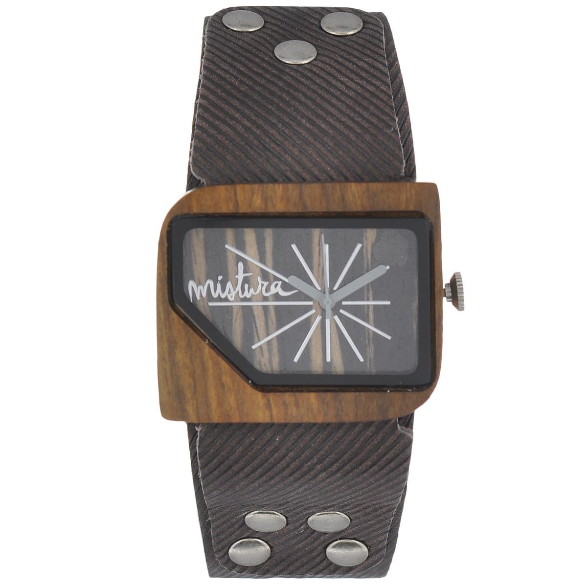 Часы наручные женские Mistura Pellicano: Coffee Jean/Ebony. TP09004CJPUEBWDTP09004CJPUEBWDНаручные часы Mistura благодаря своему эксклюзивному дизайну позволят вам выделиться из толпы и подчеркнуть свою индивидуальность. Для изготовления корпуса часов используется древесина тропических лесов Колумбии с применением индивидуальных методов ее обработки. Дизайн выполняется вручную. Часы оснащены японским кварцевым механизмом Miyota (Япония). Ремешок из натуральной кожи, декорирован металлическими заклепками, застегивается на классическую застежку с деревянным язычком. Корпус часов изготовлен из дерева. Циферблат защищен минеральным стеклом. Изделие упаковано в фирменную коробку с логотипом компании Mistura. Часы марки Mistura идеально подходят молодым и уверенным в себе людям, ценящим качество, практичность и индивидуальность в каждой детали. Каждая модель оснащена оригинальным дизайнерским корпусом, а также ремешком из натуральной кожи, который можно заменить по вашему желанию. В изделиях используются высокоточные механизмы...