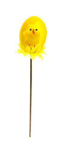 Декоративное пасхальное украшение на ножке Home Queen Радужные скорлупки, цвет: желтый, высота 17 см66790_6Украшение пасхальное Home Queen Радужные скорлупки изготовлено из пластика и полиэстера и предназначено для украшения праздничного стола. Украшение выполнено в виде птенца в скорлупе на деревянной шпажке. Такое украшение прекрасно дополнит подарок для друзей и близких на Пасху. Высота: 17 см. Размер декоративной фигурки: 3 см х 3 см х 4 см.