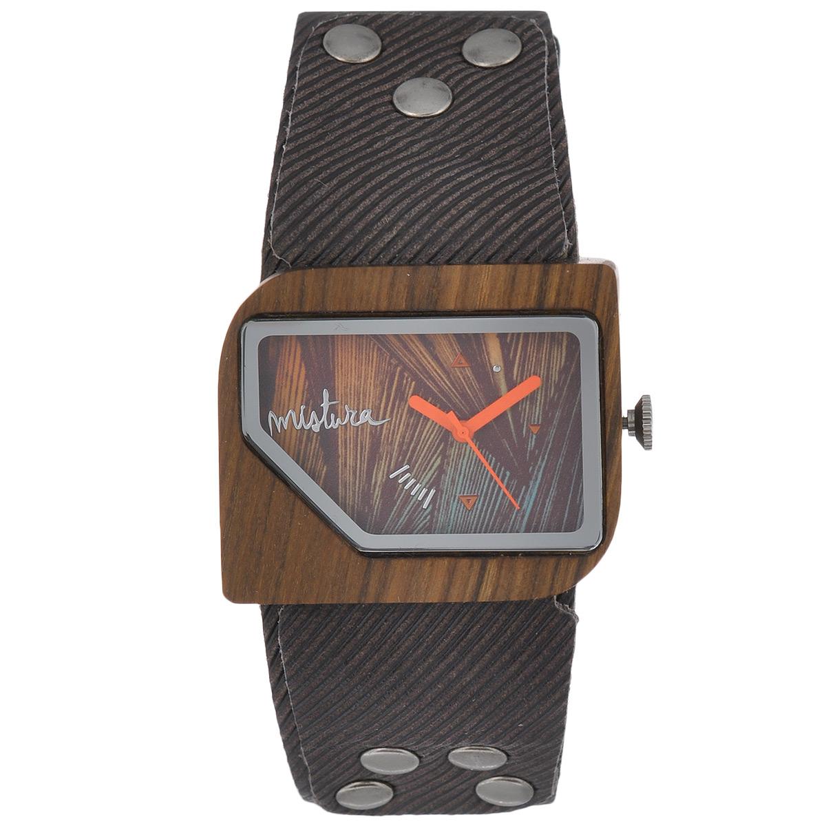 Часы наручные женские Mistura Pellicano: Coffee Jean/Malibu Orange. TP09004CJPUMOWDTP09004CJPUMOWDНаручные часы Mistura благодаря своему эксклюзивному дизайну позволят вам выделиться из толпы и подчеркнуть свою индивидуальность. Для изготовления корпуса часов используется древесина тропических лесов Колумбии с применением индивидуальных методов ее обработки. Дизайн выполняется вручную. Часы оснащены японским кварцевым механизмом Miyota (Япония). Ремешок из натуральной кожи, декорирован металлическими заклепками, застегивается на классическую застежку с деревянным язычком. Корпус часов изготовлен из дерева. Циферблат защищен минеральным стеклом. Изделие упаковано в фирменную коробку с логотипом компании Mistura. Часы марки Mistura идеально подходят молодым и уверенным в себе людям, ценящим качество, практичность и индивидуальность в каждой детали. Каждая модель оснащена оригинальным дизайнерским корпусом, а также ремешком из натуральной кожи, который можно заменить по вашему желанию. В изделиях используются высокоточные механизмы...