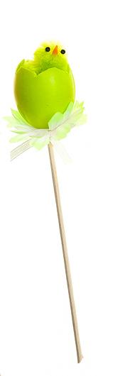 Декоративное пасхальное украшение на ножке Home Queen Радужные цыплята, цвет: зеленый, высота 16 см66789_1Украшение пасхальное Home Queen Радужные цыплята изготовлено из высококачественного пластика и предназначено для украшения праздничного стола. Украшение выполнено в виде цыпленка, вылупившегося из яйца, фигурка расположена на деревянной шпажке и украшена текстильным бантом. Такое украшение прекрасно дополнит подарок для друзей и близких на Пасху. Высота: 16 см. Размер фигурки: 3 см х 3 см х 4 см.