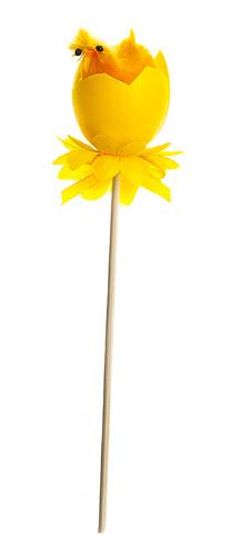 Декоративное пасхальное украшение на ножке Home Queen Радужные цыплята, цвет: оранжевый, высота 16 см66789_4Украшение пасхальное Home Queen Радужные цыплята изготовлено из высококачественного пластика и предназначено для украшения праздничного стола. Украшение выполнено в виде цыпленка, вылупившегося из яйца, фигурка расположена на деревянной шпажке и украшена текстильным бантом. Такое украшение прекрасно дополнит подарок для друзей и близких на Пасху. Высота: 16 см. Размер фигурки: 3 см х 3 см х 4 см.
