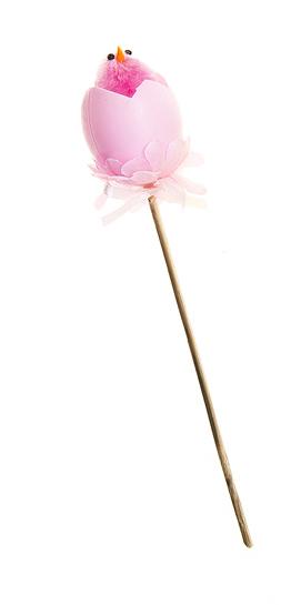 Декоративное пасхальное украшение на ножке Home Queen Радужные цыплята, цвет: розовый, высота 16 см66789_6Украшение пасхальное Home Queen Радужные цыплята изготовлено из высококачественного пластика и предназначено для украшения праздничного стола. Украшение выполнено в виде цыпленка, вылупившегося из яйца, фигурка расположена на деревянной шпажке и украшена текстильным бантом. Такое украшение прекрасно дополнит подарок для друзей и близких на Пасху. Высота: 16 см. Размер фигурки: 3 см х 3 см х 4 см.
