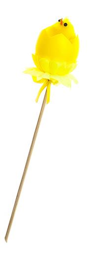 """Декоративное пасхальное украшение на ножке Home Queen """"Радужные цыплята"""", цвет: желтый, высота 16 см"""