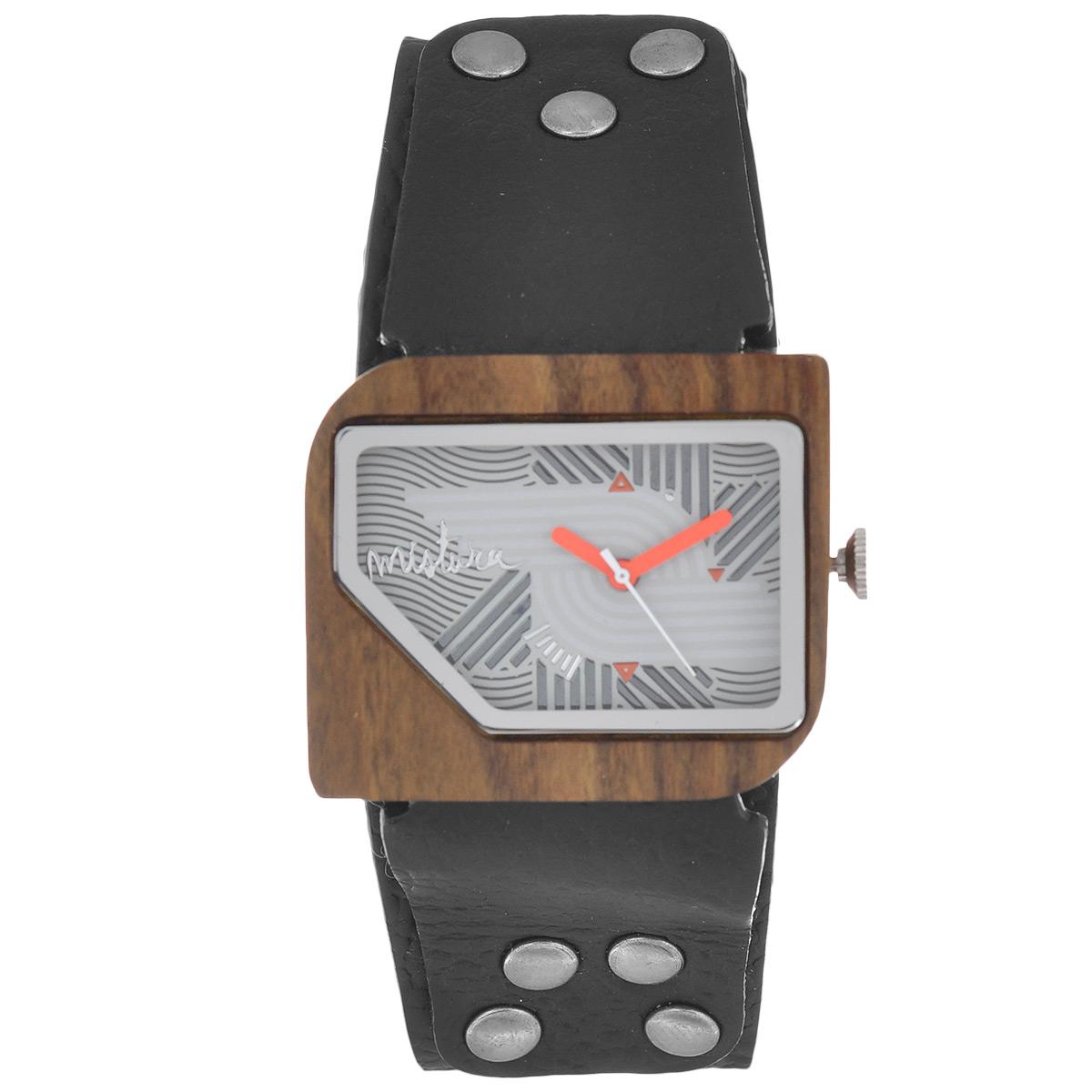 Часы наручные женские Mistura Pellicano: Black/Nazca Light. TP09004BKPUNLWDTP09004BKPUNLWDНаручные часы Mistura благодаря своему эксклюзивному дизайну позволят вам выделиться из толпы и подчеркнуть свою индивидуальность. Для изготовления корпуса часов используется древесина тропических лесов Колумбии с применением индивидуальных методов ее обработки. Дизайн выполняется вручную. Часы оснащены японским кварцевым механизмом Miyota (Япония). Ремешок из натуральной кожи, декорирован металлическими заклепками, застегивается на классическую застежку с деревянным язычком. Корпус часов изготовлен из дерева. Циферблат защищен минеральным стеклом. Изделие упаковано в фирменную коробку с логотипом компании Mistura. Часы марки Mistura идеально подходят молодым и уверенным в себе людям, ценящим качество, практичность и индивидуальность в каждой детали. Каждая модель оснащена оригинальным дизайнерским корпусом, а также ремешком из натуральной кожи, который можно заменить по вашему желанию. В изделиях используются высокоточные механизмы...