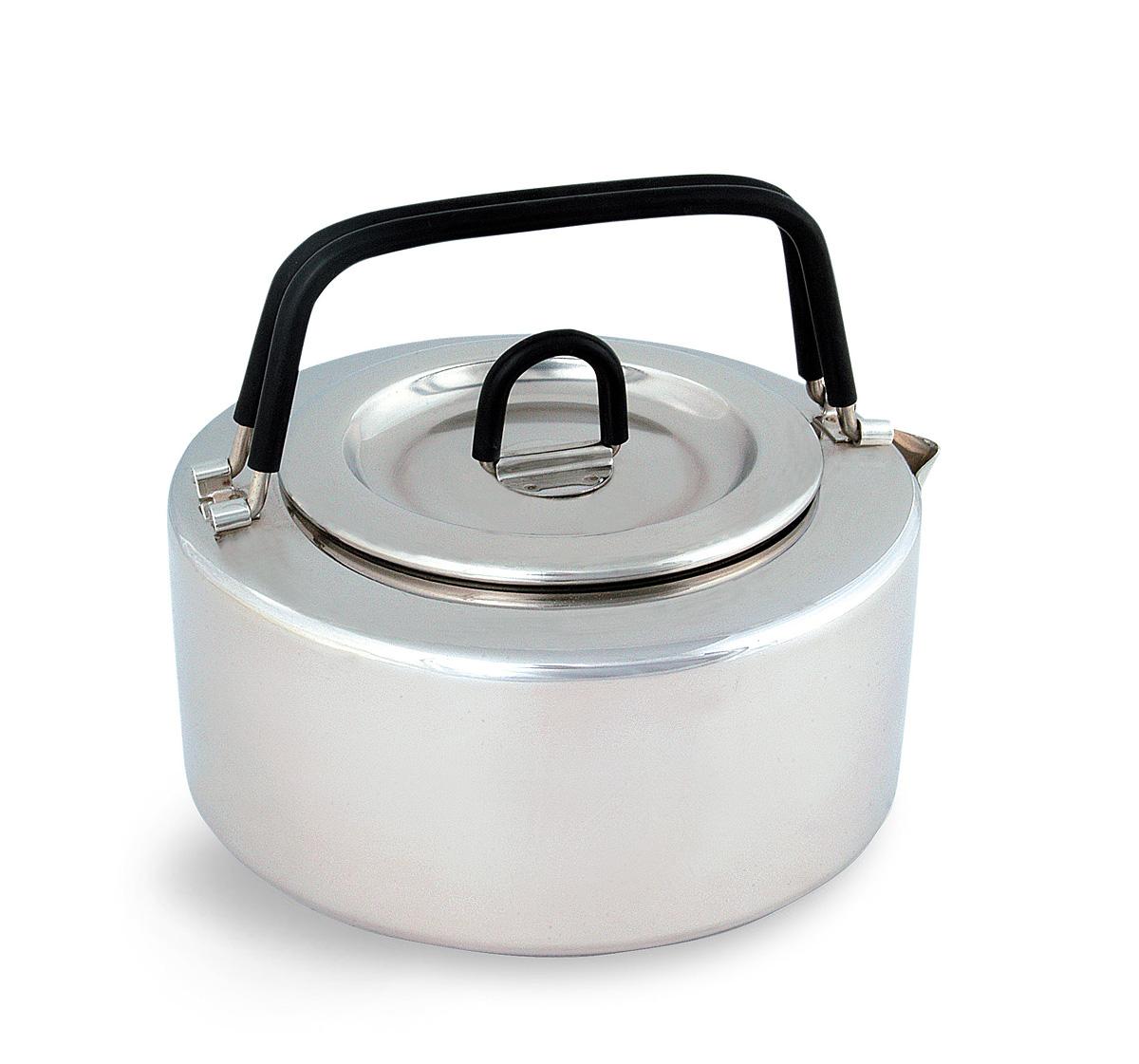 Чайник походный Tatonka Teapot, 1 л4017.000Чайник Tatonka Teapot из нержавеющей стали с термоизолированными ручками и компактным дизайном. Замечательно подходит для использования дома и на выезде. В комплекте ситечко из нержавеющей стали. Преимущества и особенности: Высококачественная нержавеющая сталь. Складные термоизолированные ручки. Крышка со складной термоизолированной ручкой. Компактный дизайн. Ситечко из нержавеющей стали. Диаметр чайника: 14,5 см. Высота чайника: 7 см.