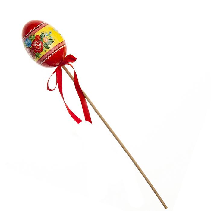 Декоративное украшение на ножке Home Queen Цветочные узоры, цвет: красный, высота 26 см66755_2Декоративное украшение Home Queen Цветочные узоры выполнено из пластика в виде пасхального яйца на деревянной ножке, декорированного цветочным рисунком. Изделие украшено текстильной лентой. Такое украшение прекрасно дополнит подарок для друзей или близких на Пасху. Высота: 26 см. Размер яйца: 5,5 см х 4 см.