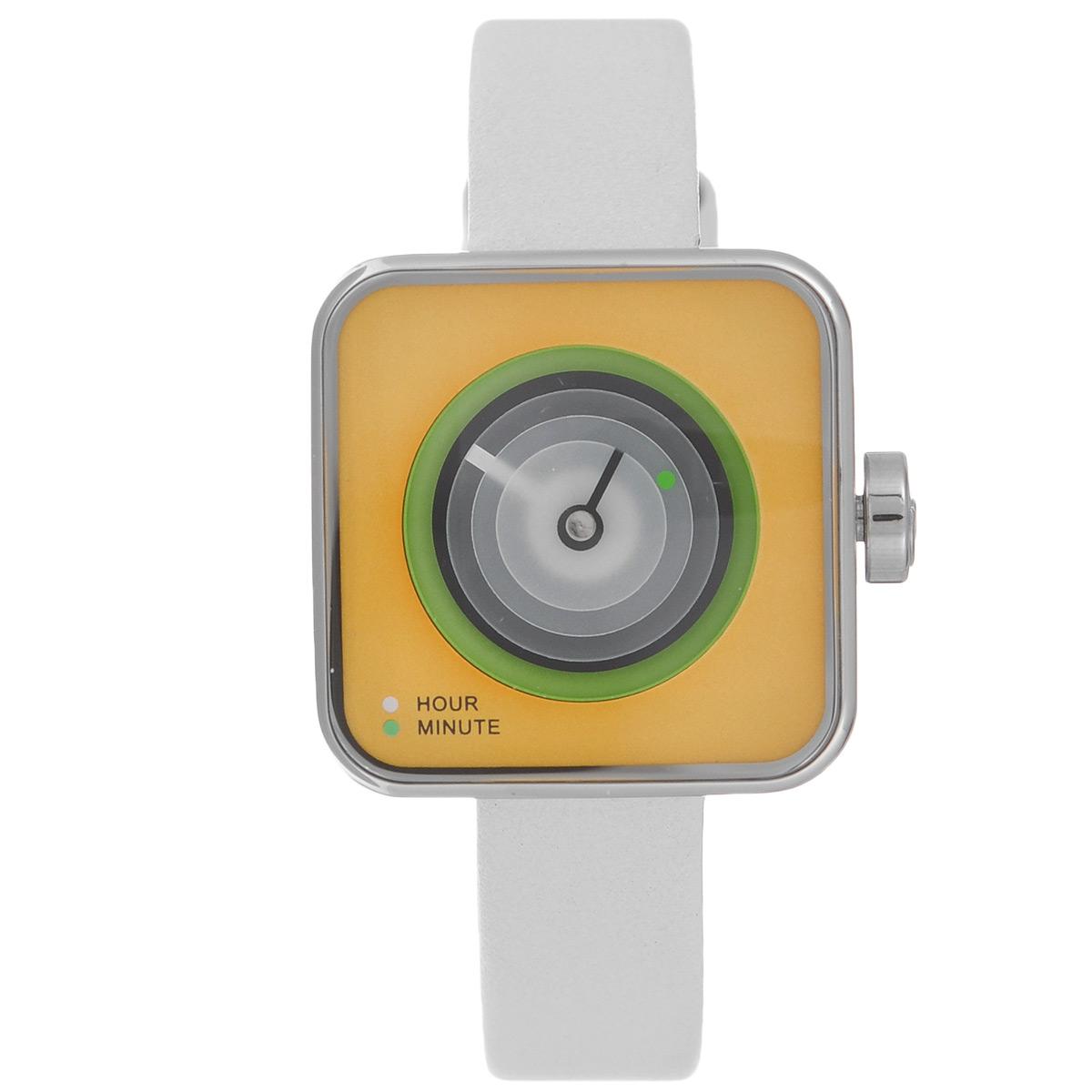 Часы наручные женские Tacs Dice-C, цвет: желтый. TS1007CTS1007CОригинальные кварцевые наручные часы Tacs созданы для людей, ценящих качество, практичность и индивидуальность в каждой детали. Строгая цветовая гамма и минималистический дизайн позволяет сочетать часы с любыми предметами гардероба. Часы оснащены японским кварцевым механизмом Miyota 2036. Квадратный корпус с закругленными углами, напоминающий по форме игральную кость, выполнен из сверкающей нержавеющей стали. Трехслойные подвижные диски на циферблате указывают время. Нижний диск с насечкой белого цвета указывает часы, средний диск с насечкой зеленого цвета - минуты. Верхний диск - с секундной стрелкой черного цвета. Цифры на циферблате отсутствуют. Циферблат защищен прочным минеральным стеклом, устойчивым к царапинам и повреждениям. Браслет часов, выполненный из натуральной кожи белого цвета, долговечен и очень практичен в использовании. Застегивается на классическую застежку-пряжку. Оригинальные яркие часы Tacs покорят вас неординарным дизайном, а...