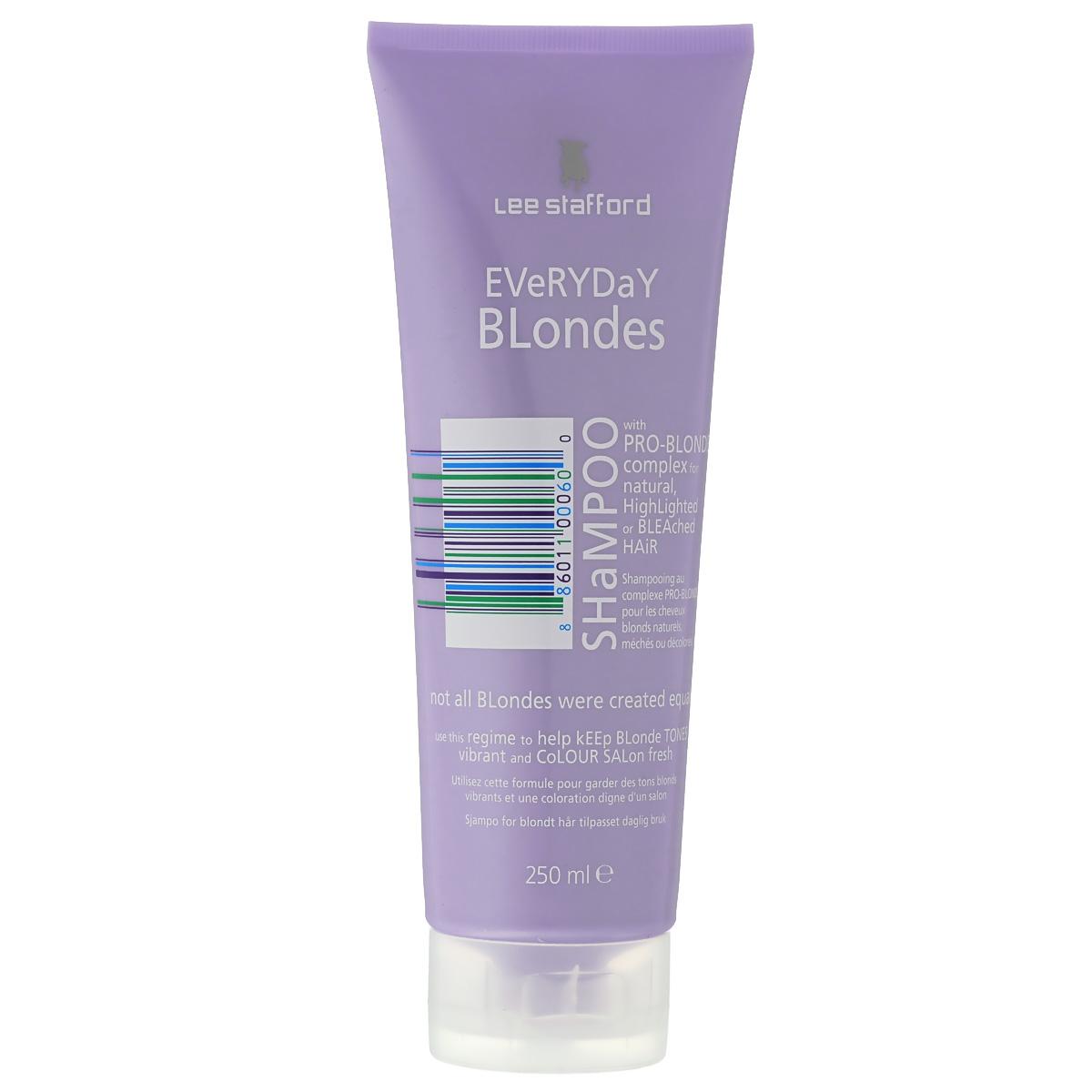 Lee Stafford Шампунь для осветленных волос для ежедневного применения Bleach Blonde, 250 мл768858200120 Lee Stafford Everyday Blonde Shampoo, шампунь для осветленных волос для ежедневного применения 250 мл. Ежедневный уход, разработанный специально для осветленных волос. Сохраняет цвет и придает волосам платиновый оттенок. Комплекс Pro-Blonde TM – содержит пантенол, экстракты ромашки и семян моринги, которые сохраняют естественный блеск и шелковистость.