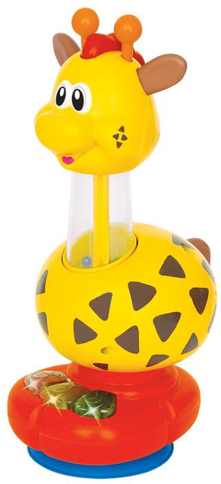Kiddieland Развивающая игрушка ЖирафKID 029900Развивающая игрушка Kiddieland Жираф выполнена из яркого безопасного пластика в виде забавного жирафа на небольшой подставке. Шея жирафа изготовлена из прозрачного пластика. Внутри нее находятся цветные шарики. Головка игрушки крутится в обе стороны. На подставке расположены три кнопки-нотки. Нажимая на них, ребенок услышит веселые мелодии и звуки, издаваемые птичкой, лошадкой или овечкой. А если нажать на голову жирафа, то шарики внутри шеи начнут весело подпрыгивать. Также у жирафа есть хвост, который поворачивается в обе стороны со звуком трещотки. Игрушка развивает мелкую моторику рук, фантазию и воображение малыша. Рекомендуется докупить 3 батарейки напряжением 1,5V типа LR44 (товар комплектуется демонстрационными).