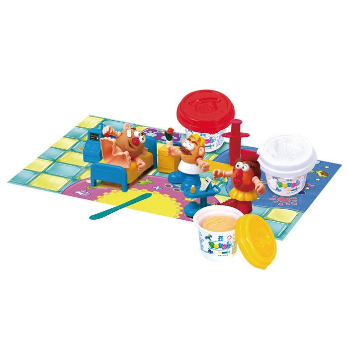 Playgo Набор для лепки Doctor DoughPlay 8674Набор для лепки Playgo Doctor Dough представляет собой сочетание моделирования и игры. Набор включает в себя: 3 баночки массы для лепки по 56 г (красный, желтый, белый), стек для моделирования, 1 шприц для выдавливания, набор мебели из 4 предметов, набор пластиковых частей и аксессуаров для создания игрушек, игровая фоновая сцена. Входящая в набор пластилиновая масса разработана специально для детей, очень мягкая, приятно пахнет, ее не надо разминать перед лепкой. Пластилин быстро высыхает, не имеет запаха, не липнет к рукам и одежде, легко смывается, а так же легко смешивается, что позволяет получать новые цвета. На крышечках баночек имеются трафареты с помощью которых ваш ребенок сможет легко самостоятельно сделать фигурку. Стек выполнен из пластика и не имеет острых концов, что безопасно для вашего малыша. С его помощью он сможет легко и быстро разрезать массу. Фигурный шприц для выдавливания поможет вашему малышу легко создать детали в форме узких палочек. Набор...