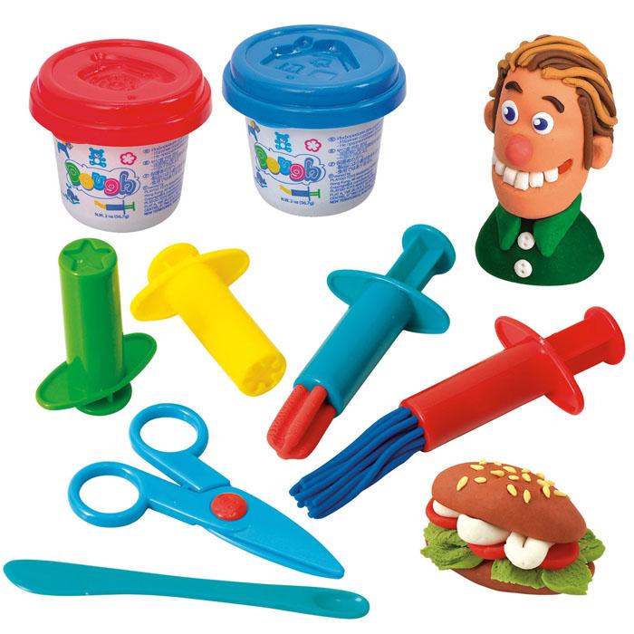 Playgo Набор для лепки Dough ShootersPlay 8634Набор для лепки Playgo Dough Shooters представляет собой сочетание моделирования и игры. Набор включает в себя: 2 баночки массы для лепки по 56 г (синий, красный), стек для моделирования, 4 шприца для выдавливания и ножницы. Входящая в набор пластилиновая масса разработана специально для детей, очень мягкая, приятно пахнет, ее не надо разминать перед лепкой. Пластилин быстро высыхает, не имеет запаха, не липнет к рукам и одежде, легко смывается, а так же легко смешивается, что позволяет получать новые цвета. На крышечках баночек имеются трафареты с помощью которых ваш ребенок сможет легко самостоятельно сделать фигурку. Ножницы и стек выполнены из пластика и не имеют острых концов, что безопасно для вашего малыша. С их помощью он сможет легко и быстро разрезать массу. Фигурные шприцы для выдавливания помогут вашему малышу легко создать детали различной формы. При помощи этого набора ваш ребенок сможет своими руками изготовить красивые фигурки. Работа с...