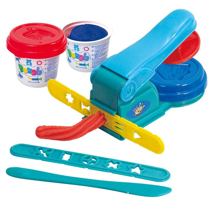 Playgo Набор для лепки Dough ExtruderPlay 8630Набор для лепки Playgo Dough Extruder представляет собой сочетание моделирования и игры. Набор включает в себя: 2 баночки массы для лепки по 56 г (синий, красный), стек для моделирования, пресс, 2 трафарета. Входящая в набор пластилиновая масса разработана специально для детей, очень мягкая, приятно пахнет, ее не надо разминать перед лепкой. Пластилин быстро высыхает, не имеет запаха, не липнет к рукам и одежде, легко смывается, а так же легко смешивается, что позволяет получать новые цвета. На крышечках баночек имеются трафареты с помощью которых ваш ребенок сможет легко самостоятельно сделать фигурку. Стек выполнен из пластика и не имеет острых концов, что безопасно для вашего малыша. С его помощью он сможет легко и быстро разрезать массу. Пресс и трафареты помогут вашему малышу легко создать фигурки различных форм. При помощи этого набора ваш ребенок сможет своими руками изготовить красивые поделки. Работа с пластилином развивает мелкую моторику пальцев...