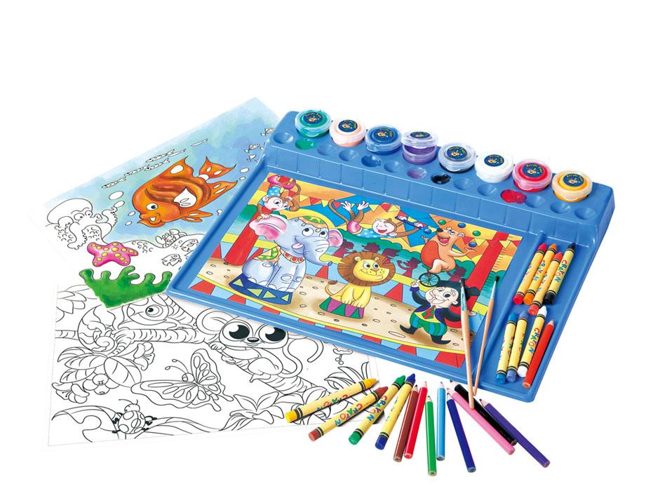 Playgo Набор для раскрашивания. 7460Play 7460С набором для раскрашивания Playgo ваш ребенок развивает творческие способности, фантазию, воображению, аккуратность, художественный вкус, терпение и интерес к ручному труду. В наборе имеется все необходимое для творчества: акриловые краски, карандаши, полицветные карандаши, кисточки и рисунки для раскрашивания, а также удобный лоток для рисования. Ребенок может проявить фантазию и нарисовать рисунок сам или воспользоваться прилагаемыми рисунками.