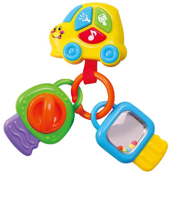Playgo Развивающая игрушка Брелок с ключами. Play 2658Play 2658Развивающая игрушка Playgo Брелок с ключами изготовлена из высококачественного пластика безопасного для детей. Малышам очень нравятся музыкальные игрушки, кроме того, они полезны для развития слуха и речи. Музыкальные игрушки часто используются в развивающих занятиях с детьми раннего возраста. На подвеске- машинке расположены три ярких цветных кнопочки, нажимая на которые малыш услышит гудок, звук тормоза и работающего мотора, а также три музыкальные мелодии. Игрушка оснащена двумя подвесками в виде ключиков. Каждая из подвесок-ключиков имеет свои особенности. На зеленом ключике расположен переключатель, который издает треск при повороте, а на голубом - безопасное зеркальце с разноцветными шариками. Все два ключика и машинка соединены колечком. Ваш ребенок будет в восторге от такой веселой игры. Развивающая игрушка Playgo Брелок с ключами развивает мелкую моторику, слуховое и визуально-цветовое восприятие. Рекомендуется докупить...