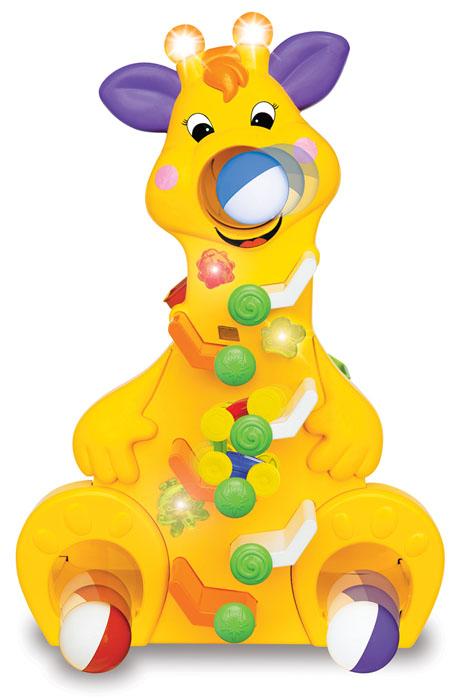 Kiddieland Развивающая игрушка Забавный жирафKID 037432Развивающая игрушка Kiddieland Забавный жираф- это веселая и вместе с тем развивающая игрушка для малышей в возрасте от 12 месяцев, насыщенная разнообразными развивающими и игровыми элементами, что делает ее очень функциональной и по-настоящему полезной для вашего ребенка. С восхитительной музыкой, веселыми звуками и мигающими лампочками. Наблюдайте за машинкой, которые съезжают по лабиринту трасс, и за цветными шариками, которые скатываются вниз! Рекомендуется докупить 2 батарейки напряжением 1,5V типа АА (товар комплектуется демонстрационными).