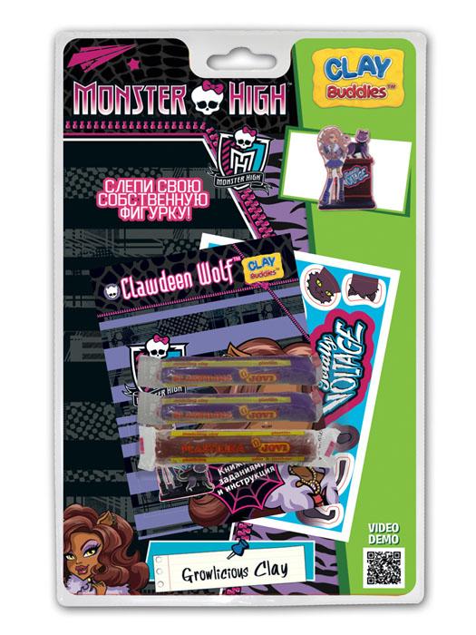 Giromax Набор для лепки Monster High. Clawdeen WolfG 307625Набор для лепки Giromax Monster High представляет собой сочетание моделирования и игры. Набор включает в себя: 3 плитки пластилина (черный, кирпичный), карточку с картонными деталями, 1 лист липучек, иллюстрированную книжку с инструкциями и заданиями. Входящая в набор пластилиновая масса разработана специально для детей, очень мягкая, приятно пахнет, ее не надо разминать перед лепкой. Пластилин быстро высыхает, не имеет запаха, не липнет к рукам и одежде, легко смывается. Используя пластилин и картонные формочки, малыш сможет самостоятельно вылепить фигурку любимой героини - Клодин Вульф. Работа с пластилином развивает мелкую моторику пальцев малыша, пространственное воображение, фантазию.