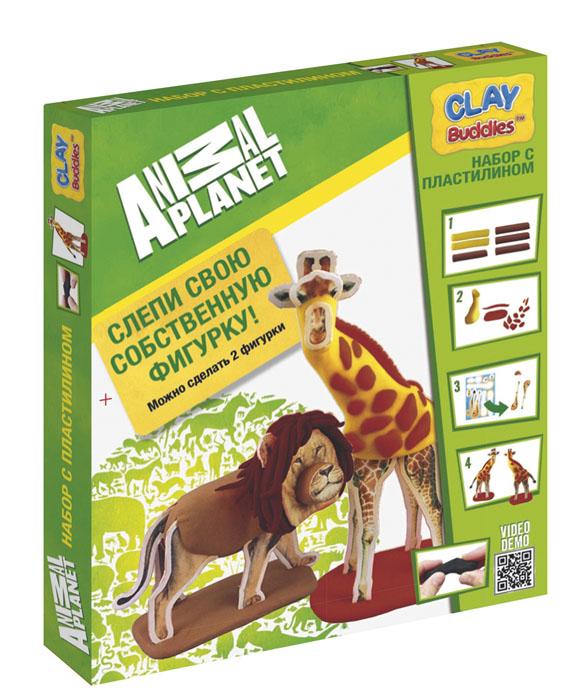 Giromax Набор для лепки Animal PlanetG 306765Набор для лепки Giromax Animal Planet представляет собой сочетание моделирования и игры. Набор включает в себя: 6 плиток пластилина (кирпичный, коричневый, светло-коричневый, желтый), игровая фоновая сцена, 2 карточки с картонными деталями, 2 листа липучек, иллюстрированная книжка с инструкциями и заданиями. Входящая в набор пластилиновая масса разработана специально для детей, очень мягкая, приятно пахнет, ее не надо разминать перед лепкой. Пластилин быстро высыхает, не имеет запаха, не липнет к рукам и одежде, легко смывается. Используя пластилин и картонные формочки, малыш сможет самостоятельно вылепить фигурки жирафа и льва, а с помощью игровой фоновой сцены созданные игрушки оживут. Работа с пластилином развивает мелкую моторику пальцев малыша, пространственное воображение, фантазию.