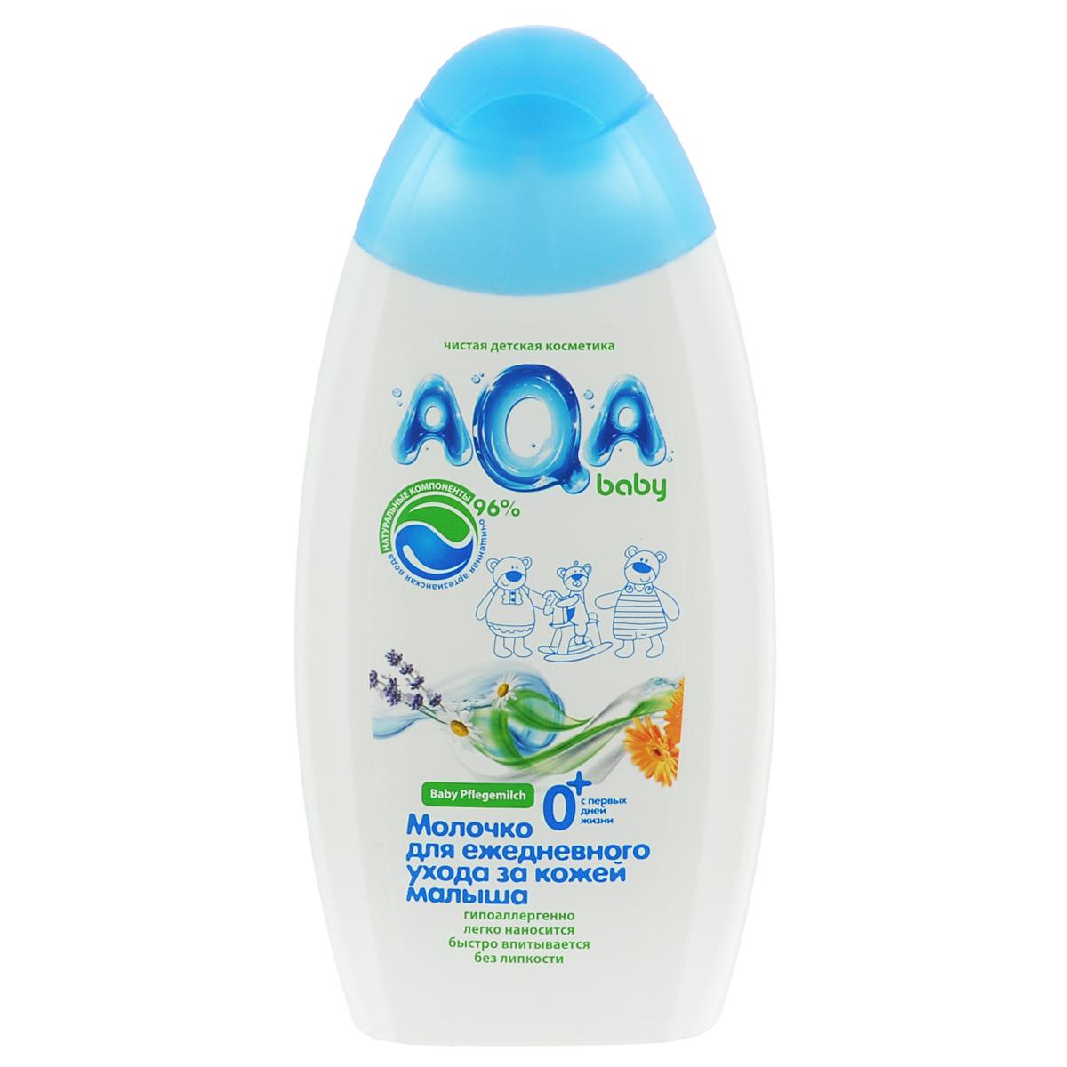 AQA baby Молочко для ежедневного ухода за кожей малыша2012201Бархатистое молочко для новорожденных специально создано для увлажнения кожи после купания, при сухости и шелушении. Легко наносится на тело, быстро впитывается без липкости. Обогащено натуральным маслом подсолнечника, экстрактом ромашки, лаванды, календулы и бисабололом, благотворно влияющими на нежную кожу. На 96% состоит из натуральных компонентов. Гипоаллергенное. Используется с рождения.